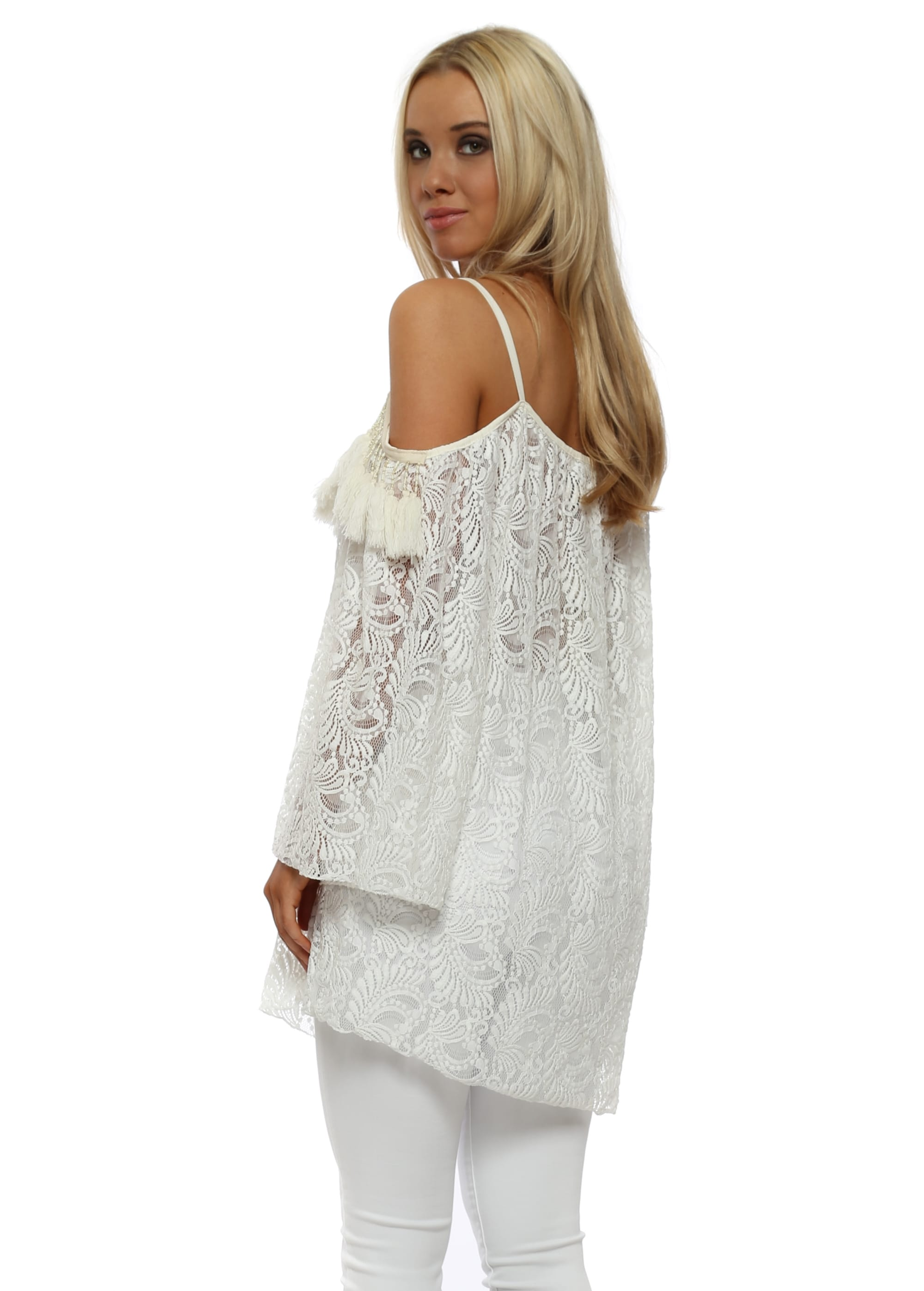 9be6687b5402e6 White Lace Cold Shoulder Tassel Top