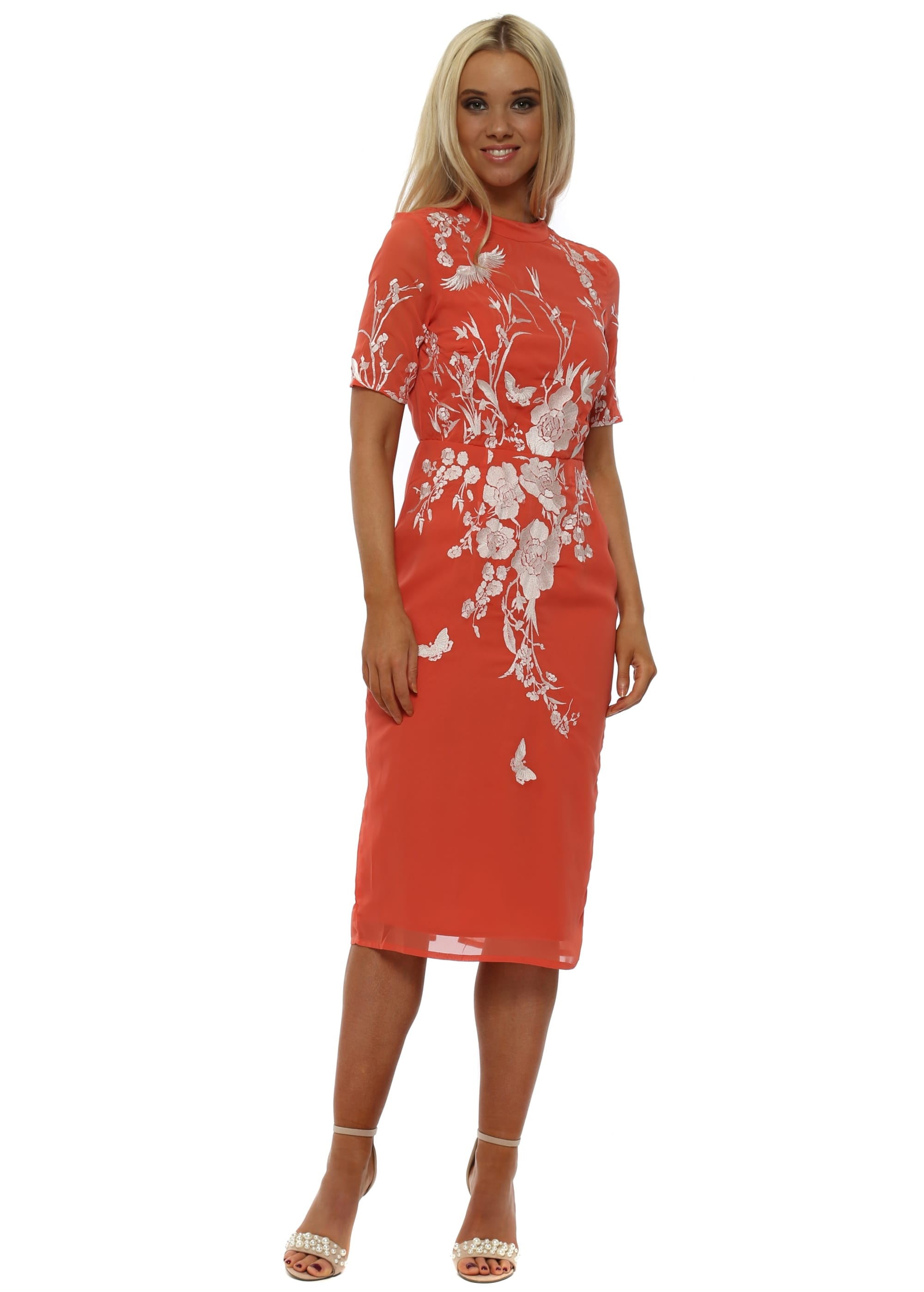 e0cfd264e4765 Coral Fitted Pencil Dress with Oriental Embroidery