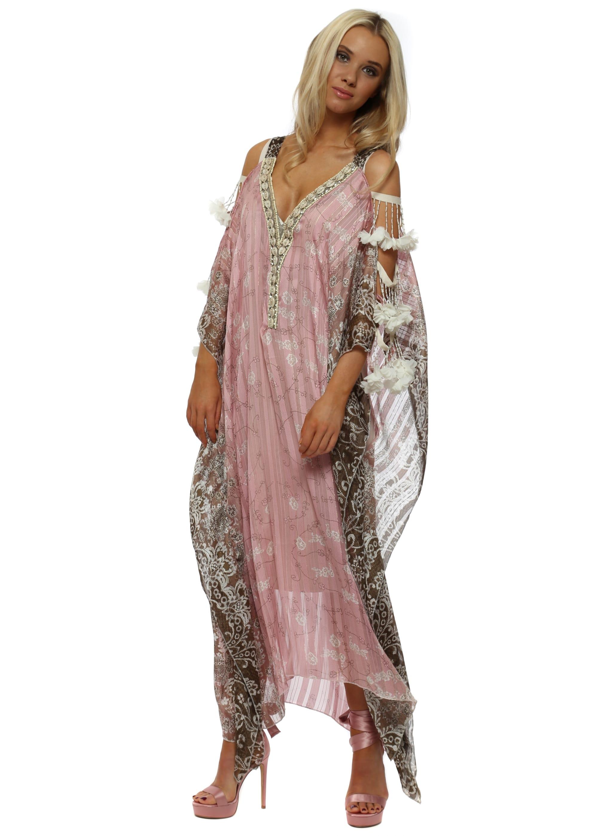 91f6b9654783b Pink Floral Ladder Sleeve Maxi Kaftan Dress