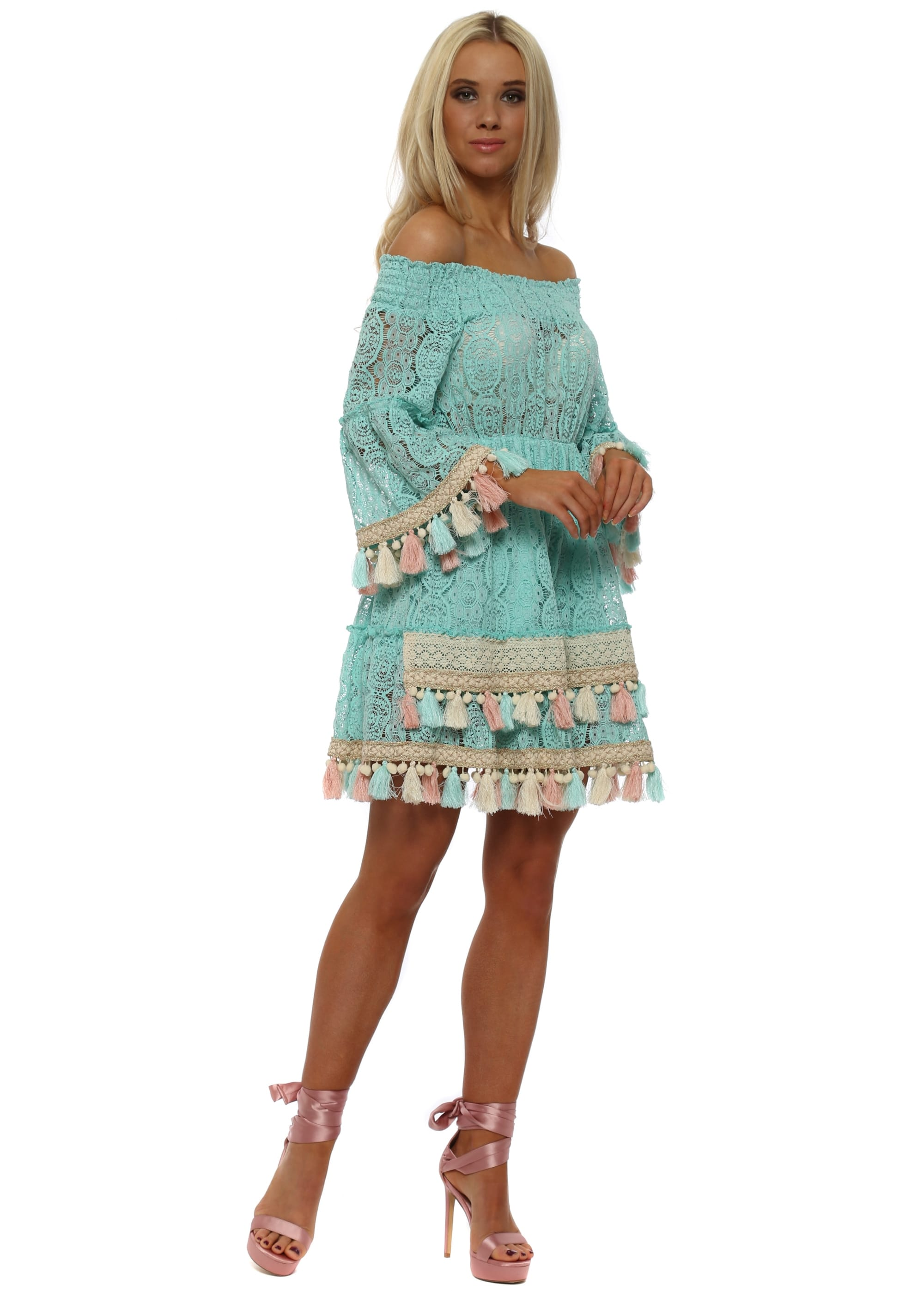 27bd92a0a703 Dentelle Turquoise Lace Bardot Tassel Dress