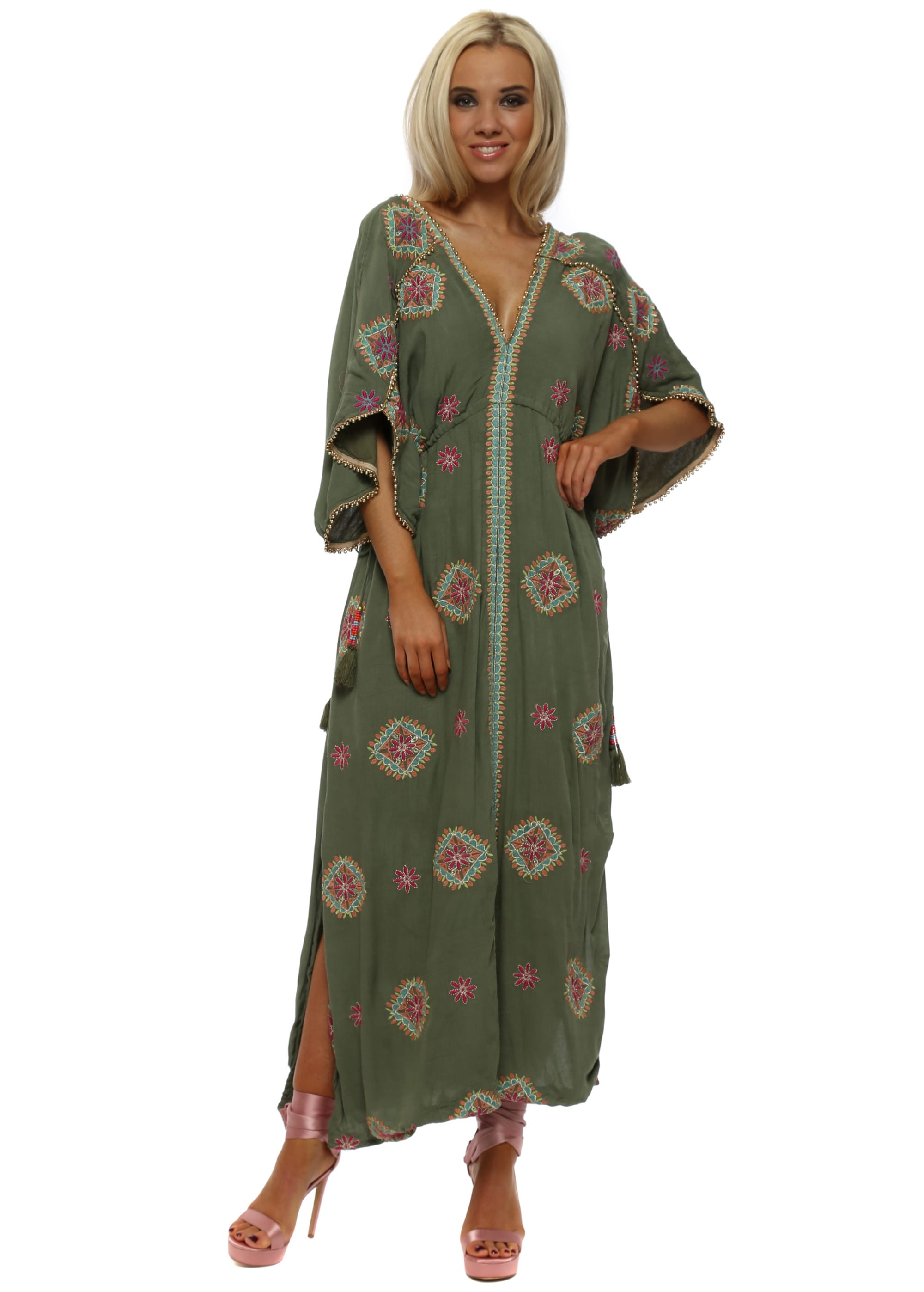 9ee74e83425 Rony Khaki Embroidered Floral Maxi Kaftan Dress