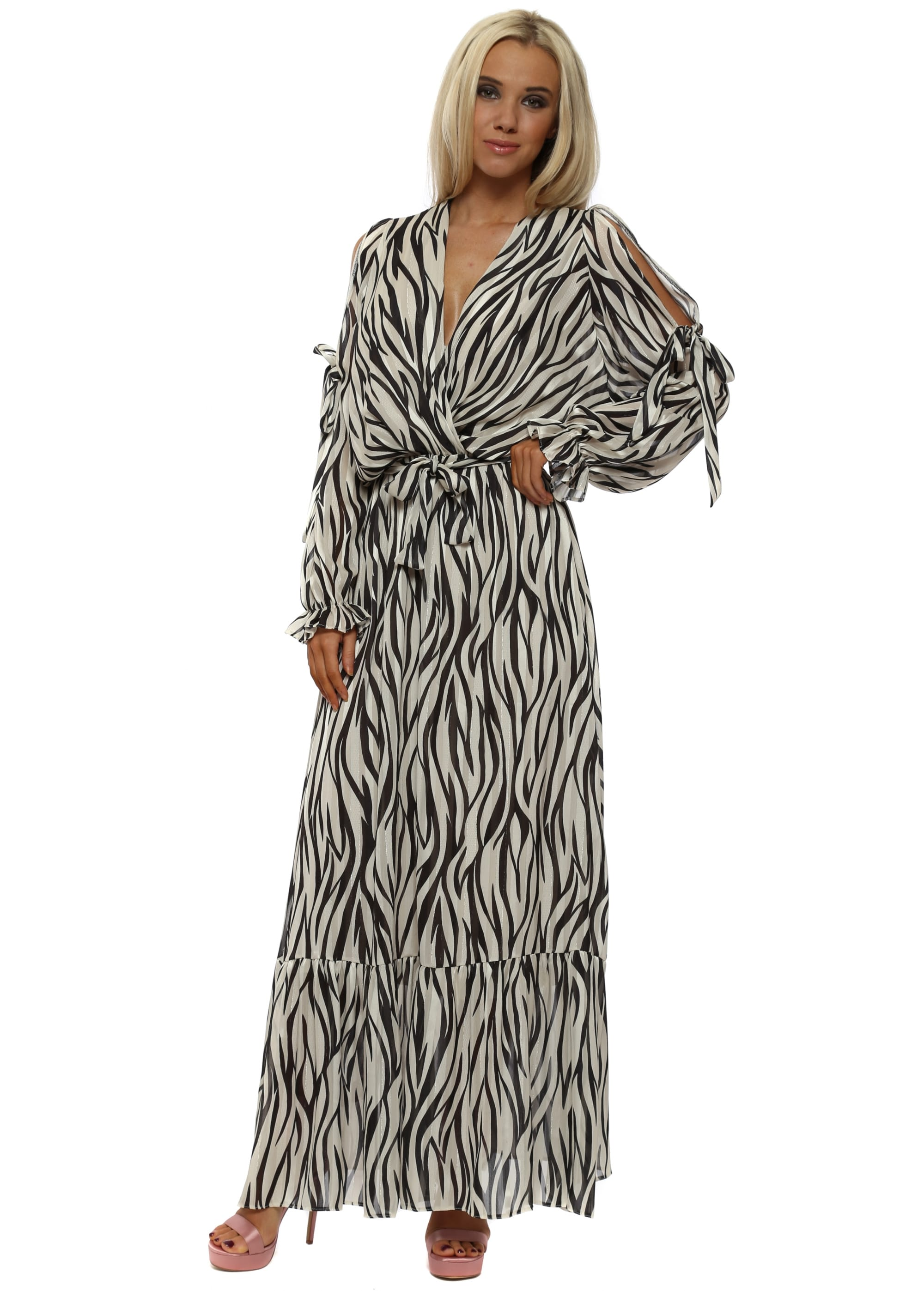 Zebra Print Cross Over Maxi Dress 5b8c8c0c6