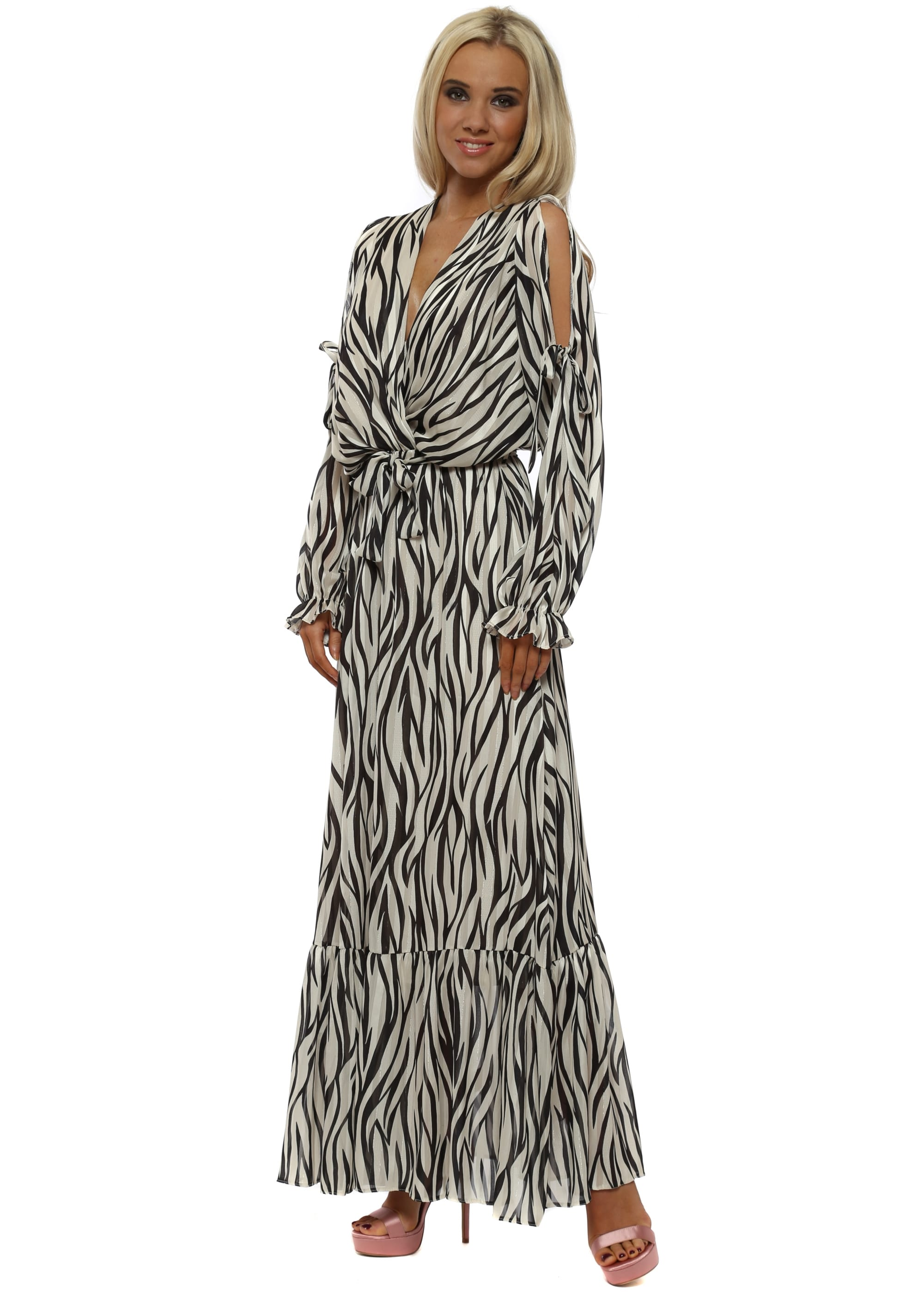 Fashion style Print zebra maxi dresses for lady