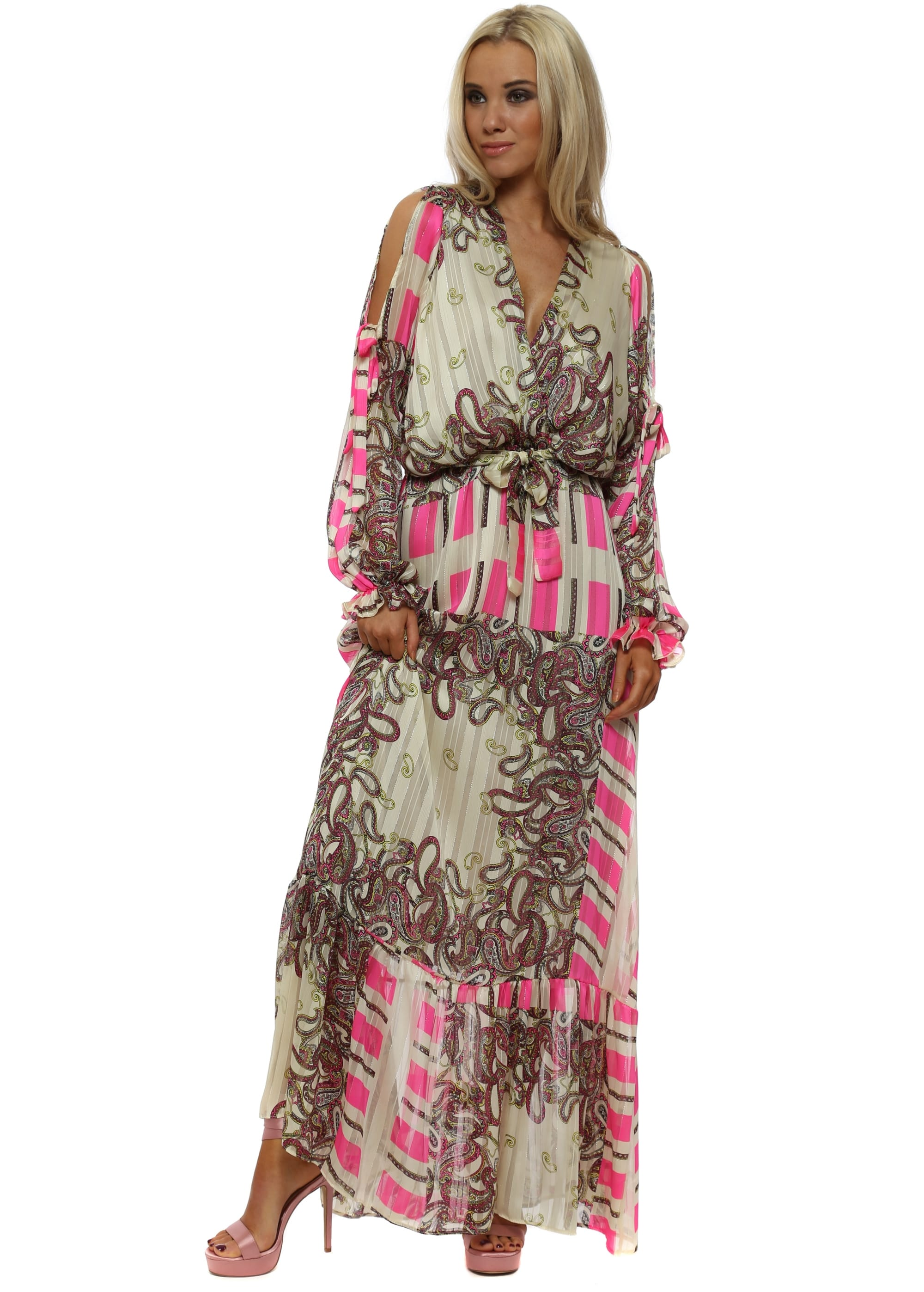 e4a7c3caf70e Pink Paisley Print Cross Over Maxi Dress