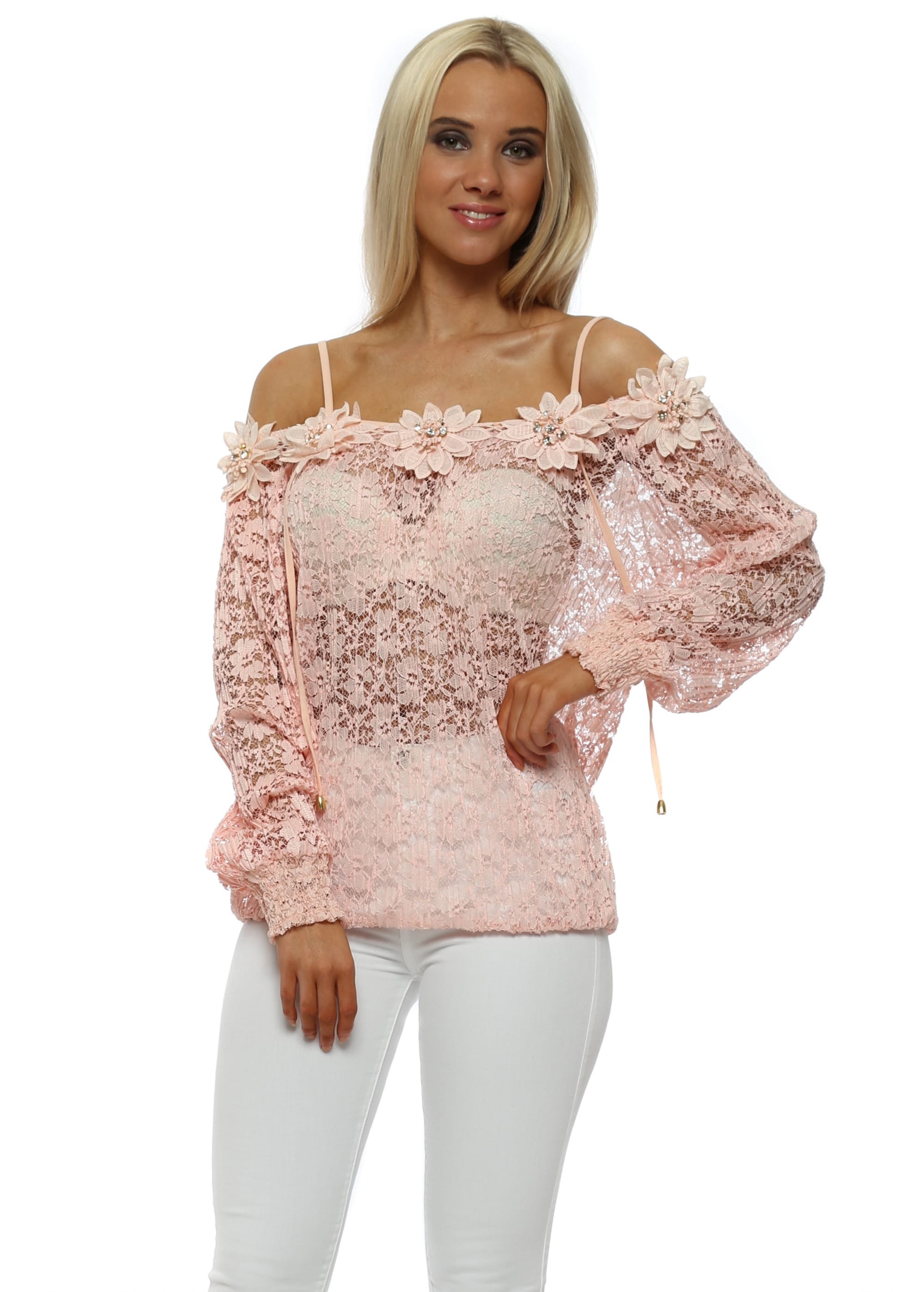 bf9a275df1b194 Just M Paris - Pink Lace Cold Shoulder Top