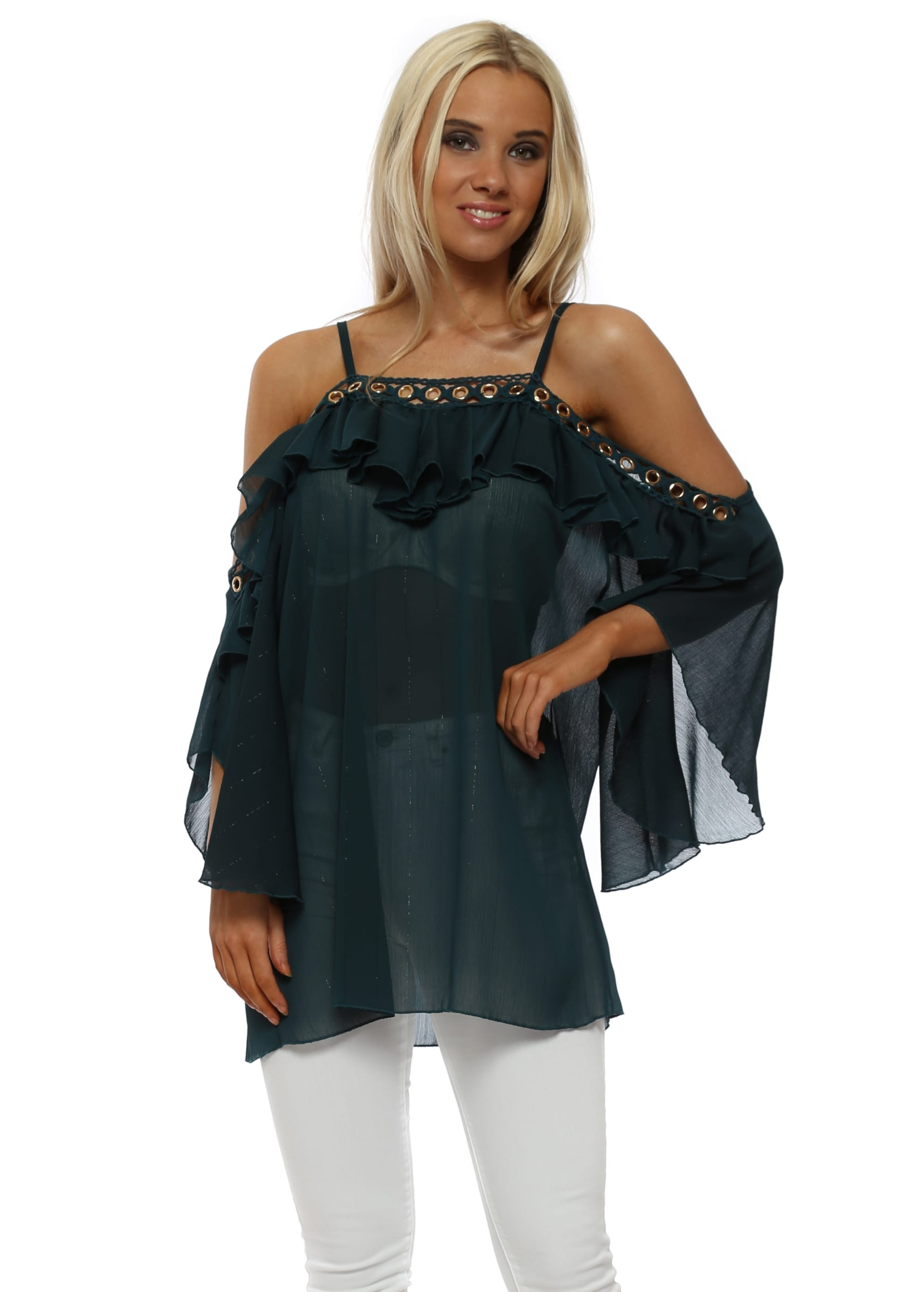 5214e7ff438805 My Story Green Chiffon Cold Shoulder Top