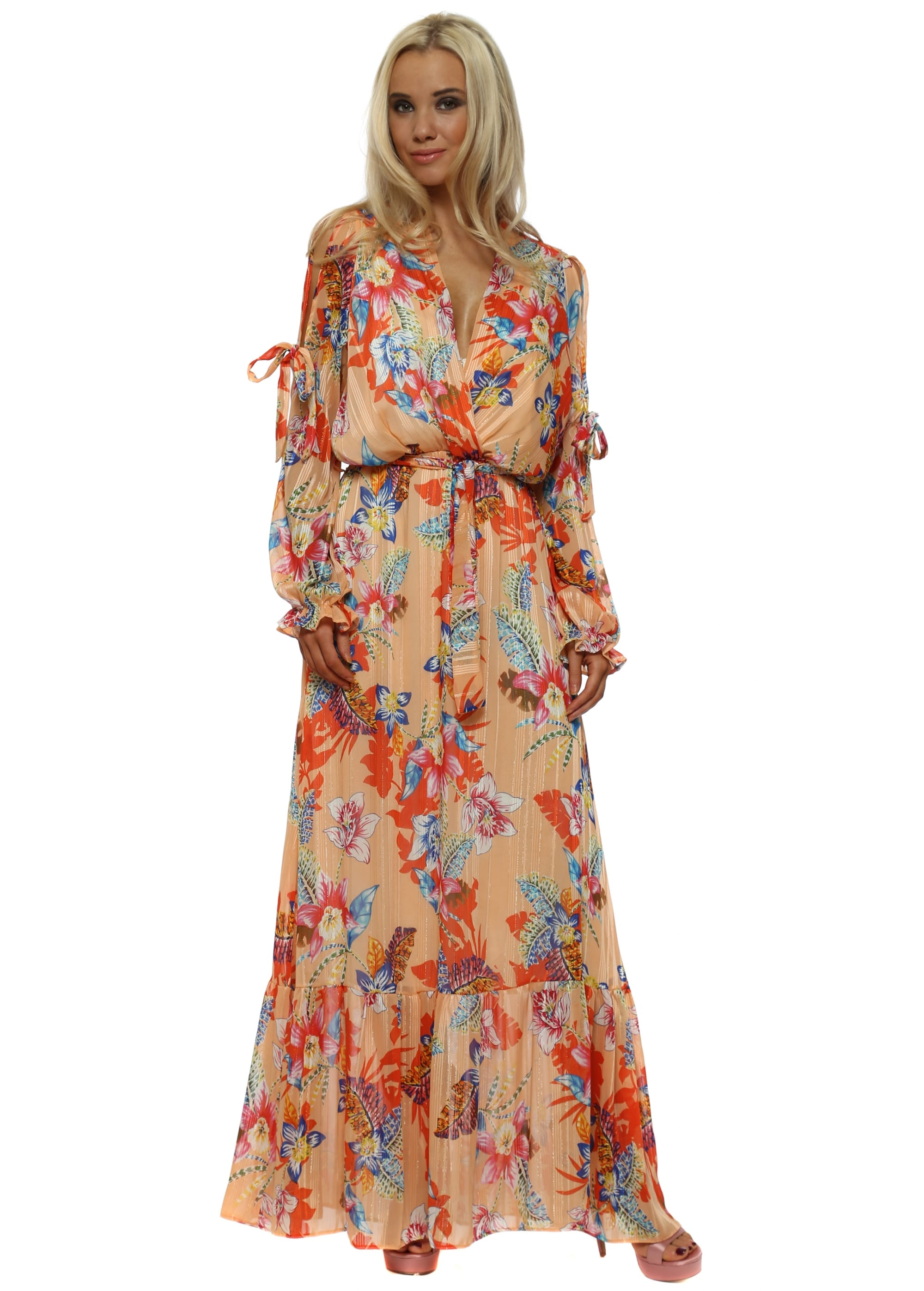 345536285 Peach Tropical Floral Print Cross Over Maxi Dress