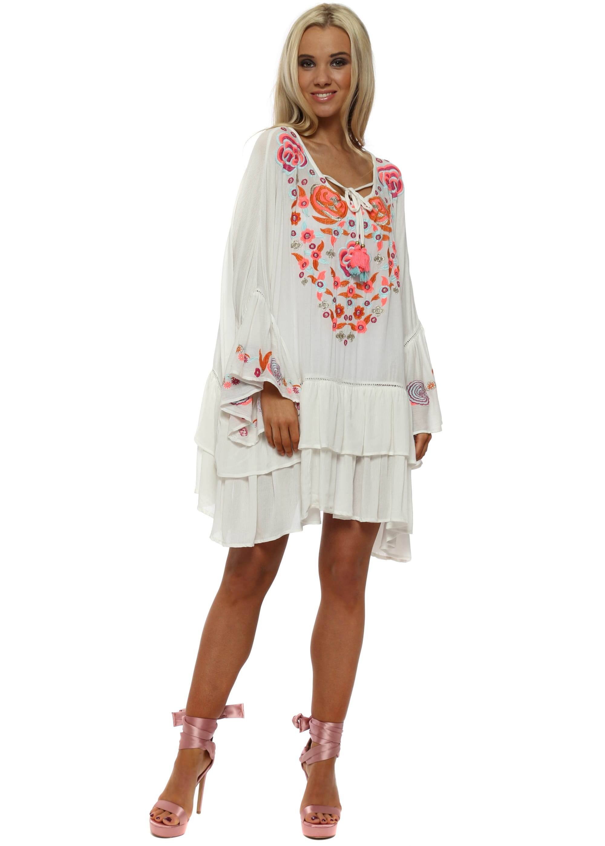 a4ff90cf6e Rustik White Floral Embroidered Beach Dress