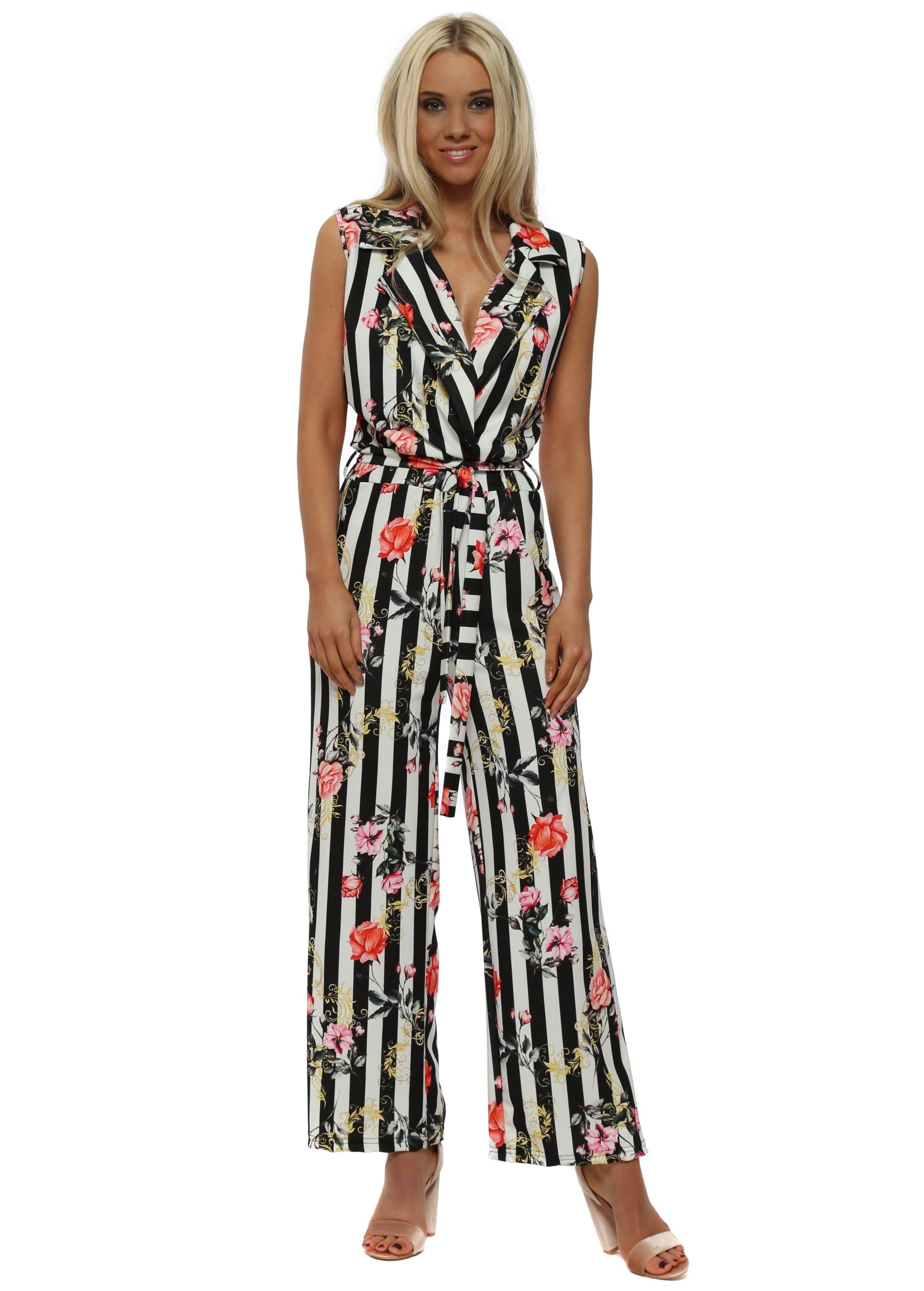 86255465fdf Black   White Pinstripe Floral Jumpsuit