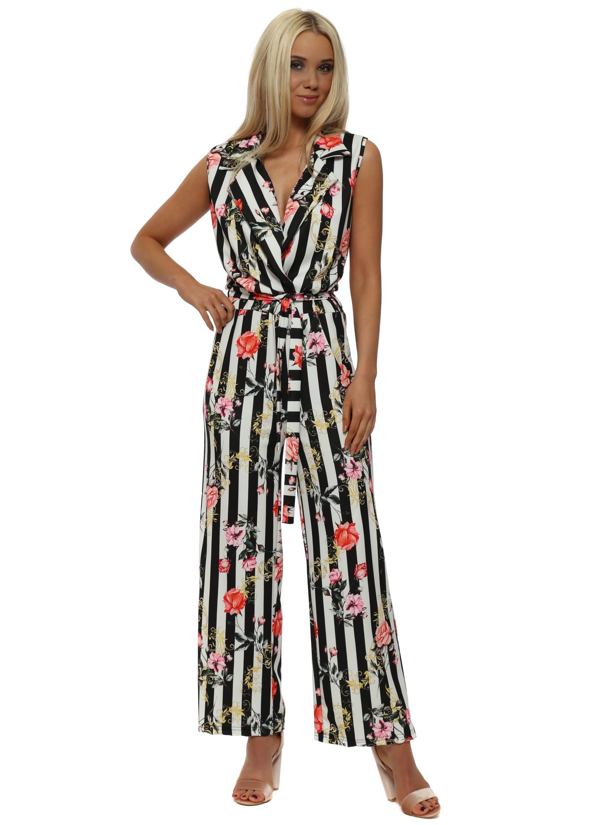 9e9e2bc22d1a Black   White Pinstripe Floral Jumpsuit
