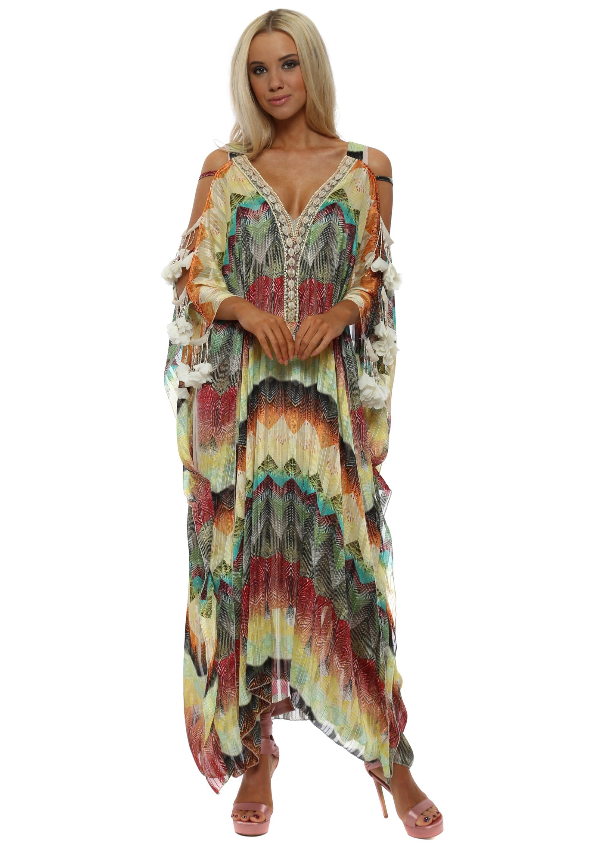 4432f830f8746 Multi Zig Zag Ladder Sleeve Maxi Kaftan Dress
