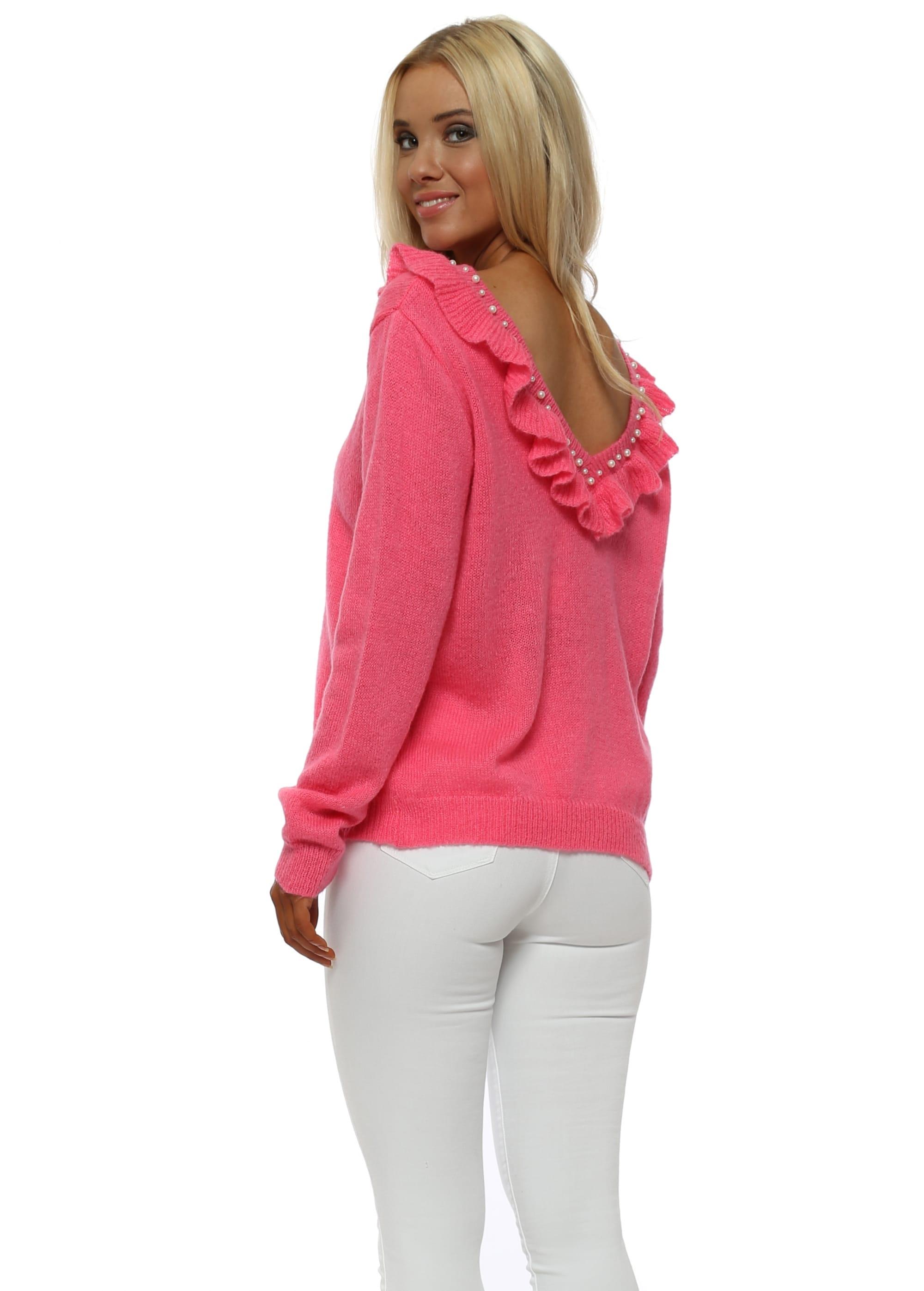 7728d35cb8df15 Hot Pink V Back Frill Pearl Jumper