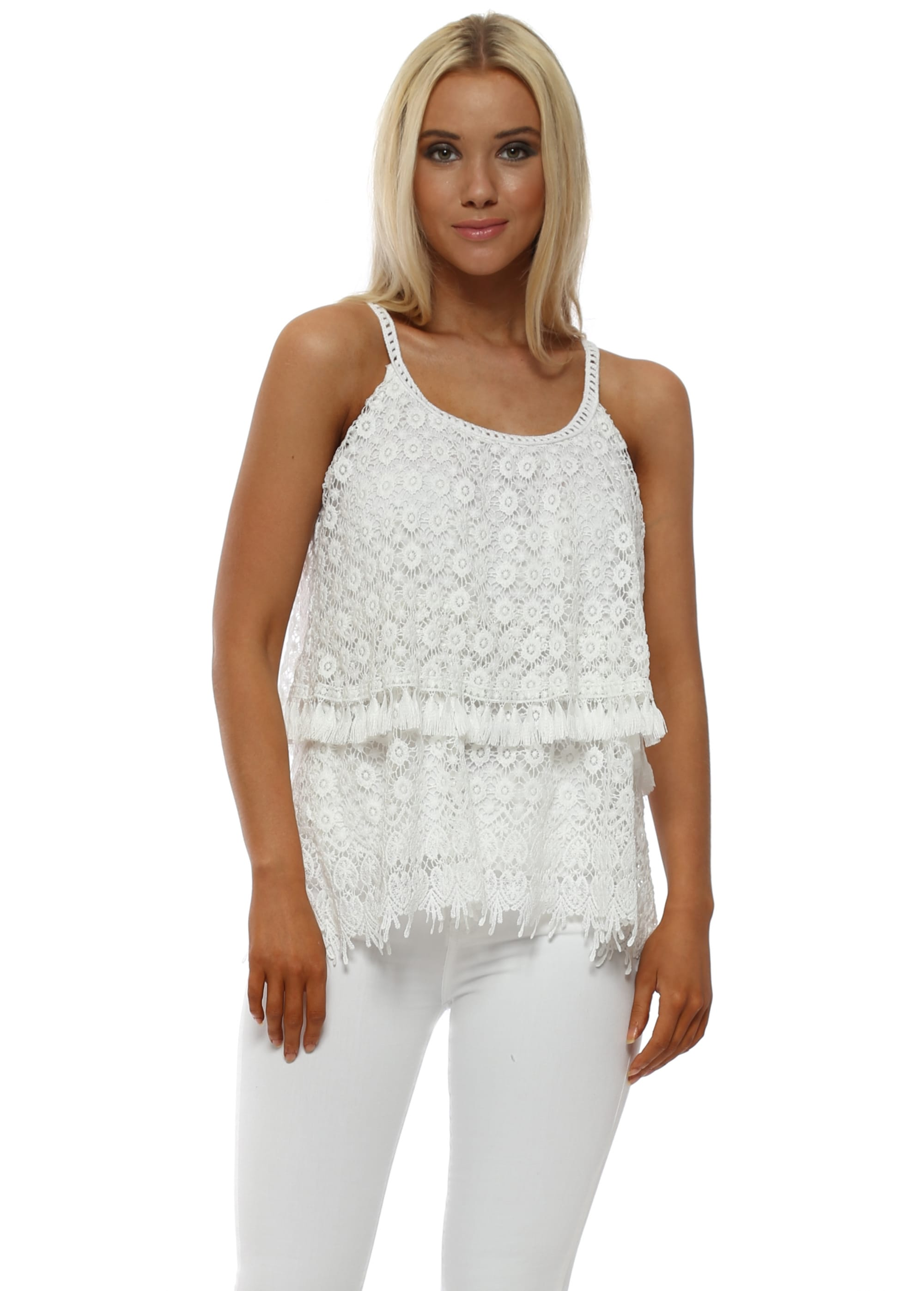 b534e7dc1b791f Made In italy White Lace Strappy Top