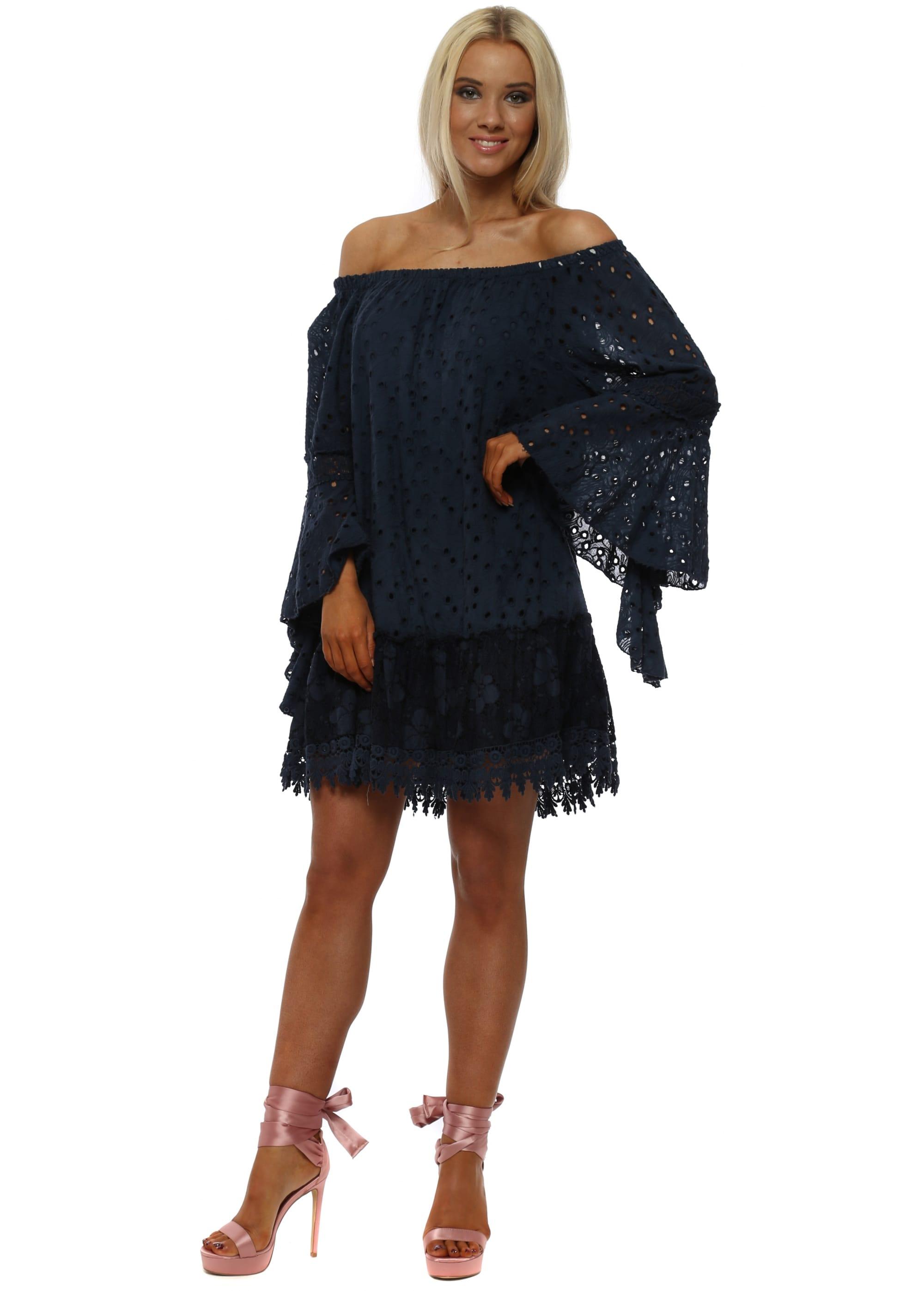 934eb4664107 Monton Navy Blue Crochet Lace Off The Shoulder Dress