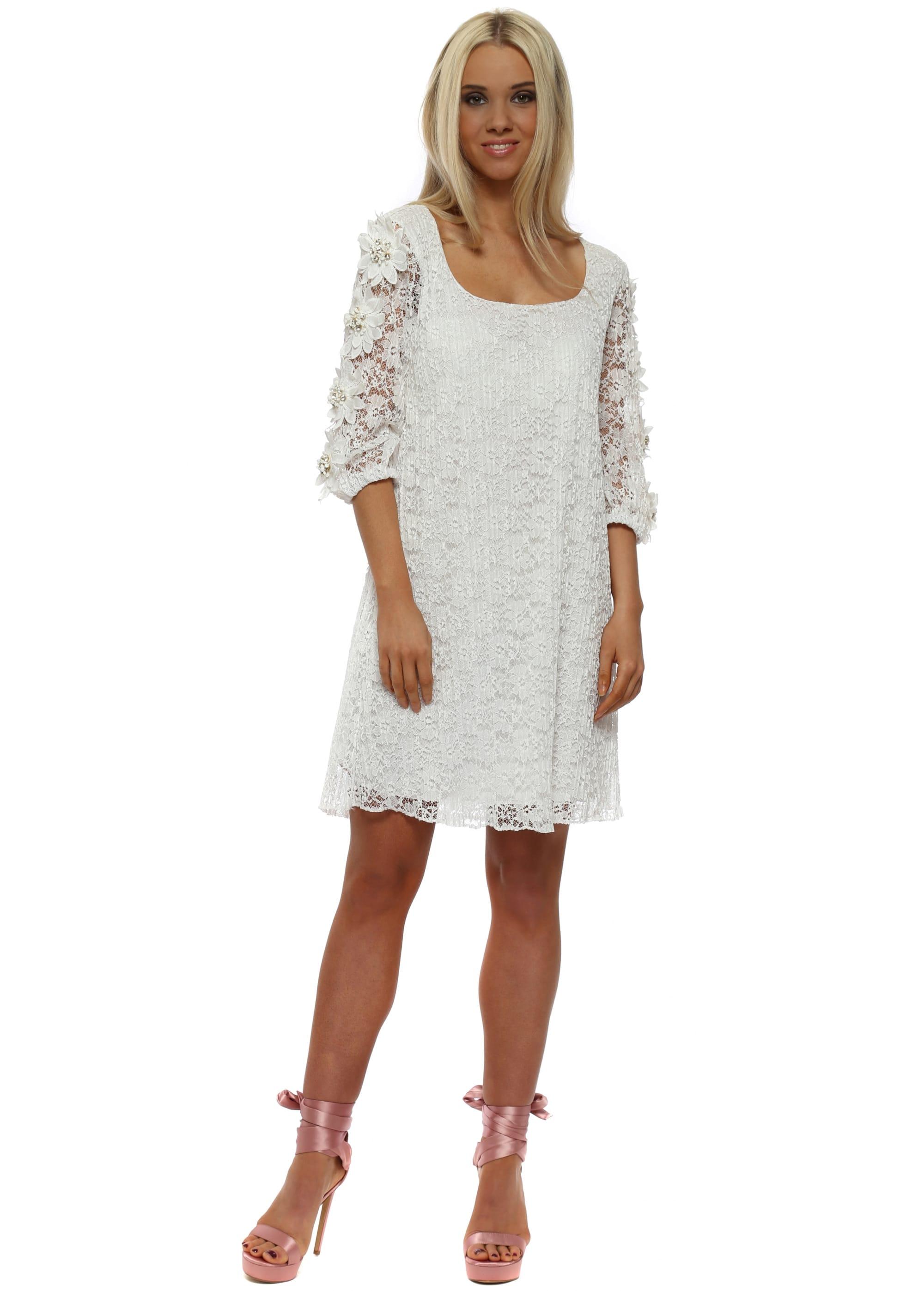 627c953883c9 White Lace Floral Diamante Sleeve Tunic Dress