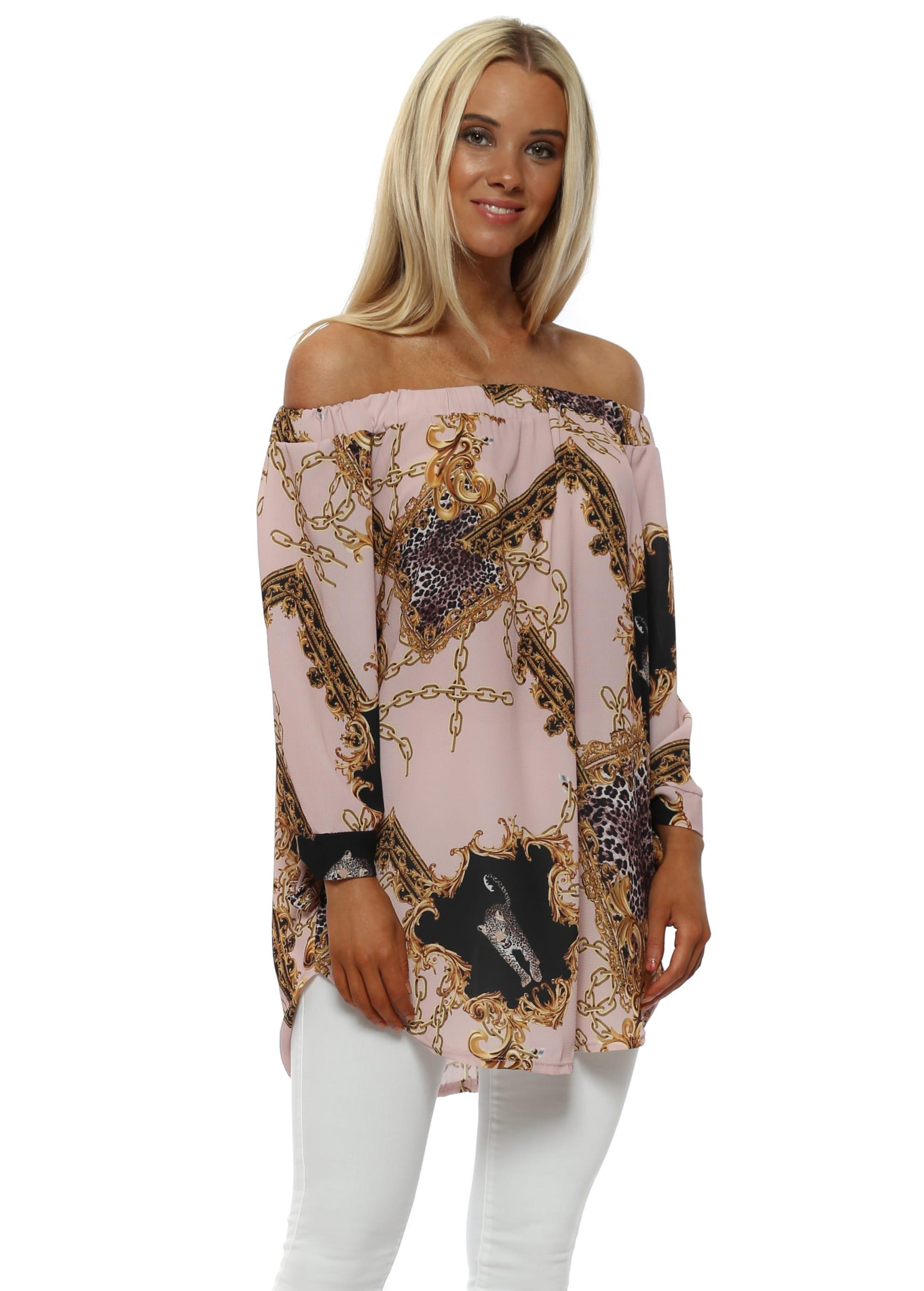 fd12b23b775 Gold Chain & Leopard Print Dusky Pink Bardot Top