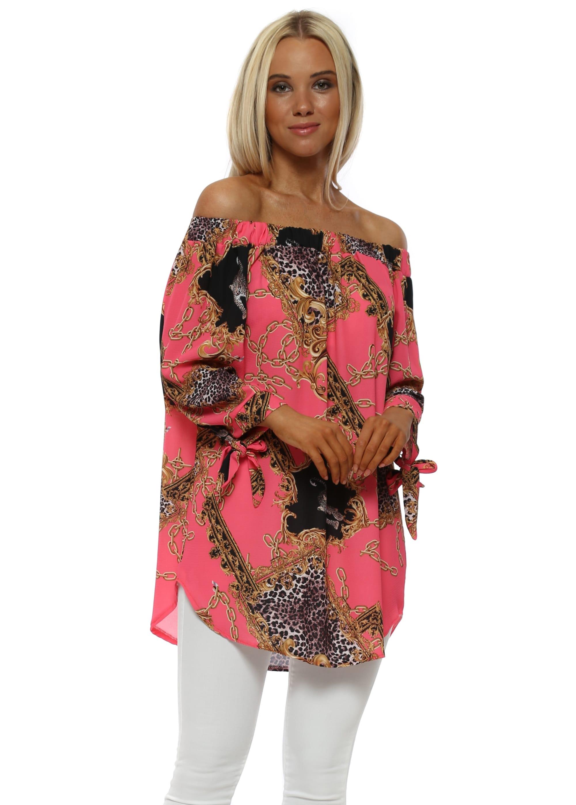 a2ab9405401 Gold Chain & Leopard Print Hot Pink Bardot Top