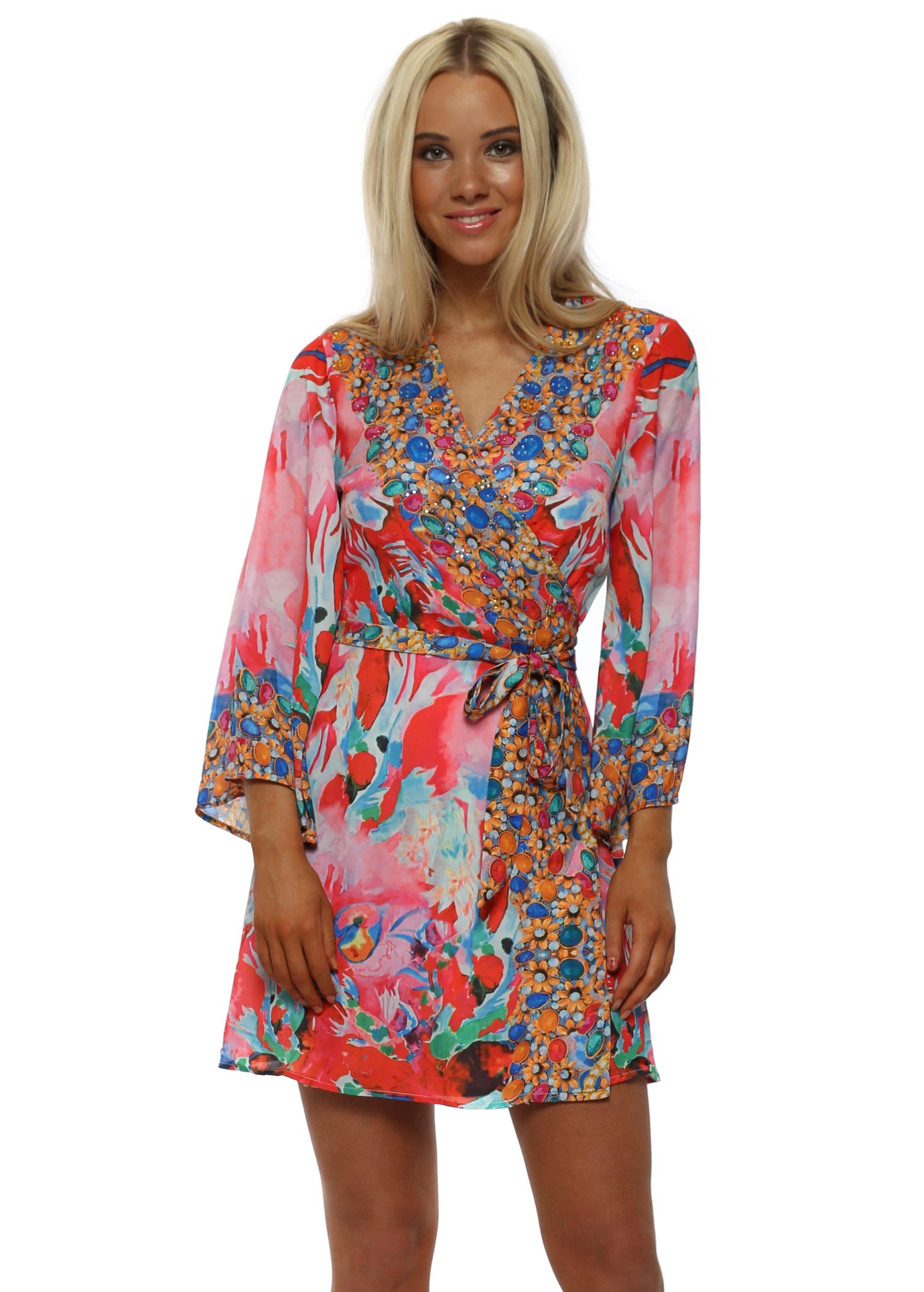 Frime Summer Pink Jewel Print Kimono Dress
