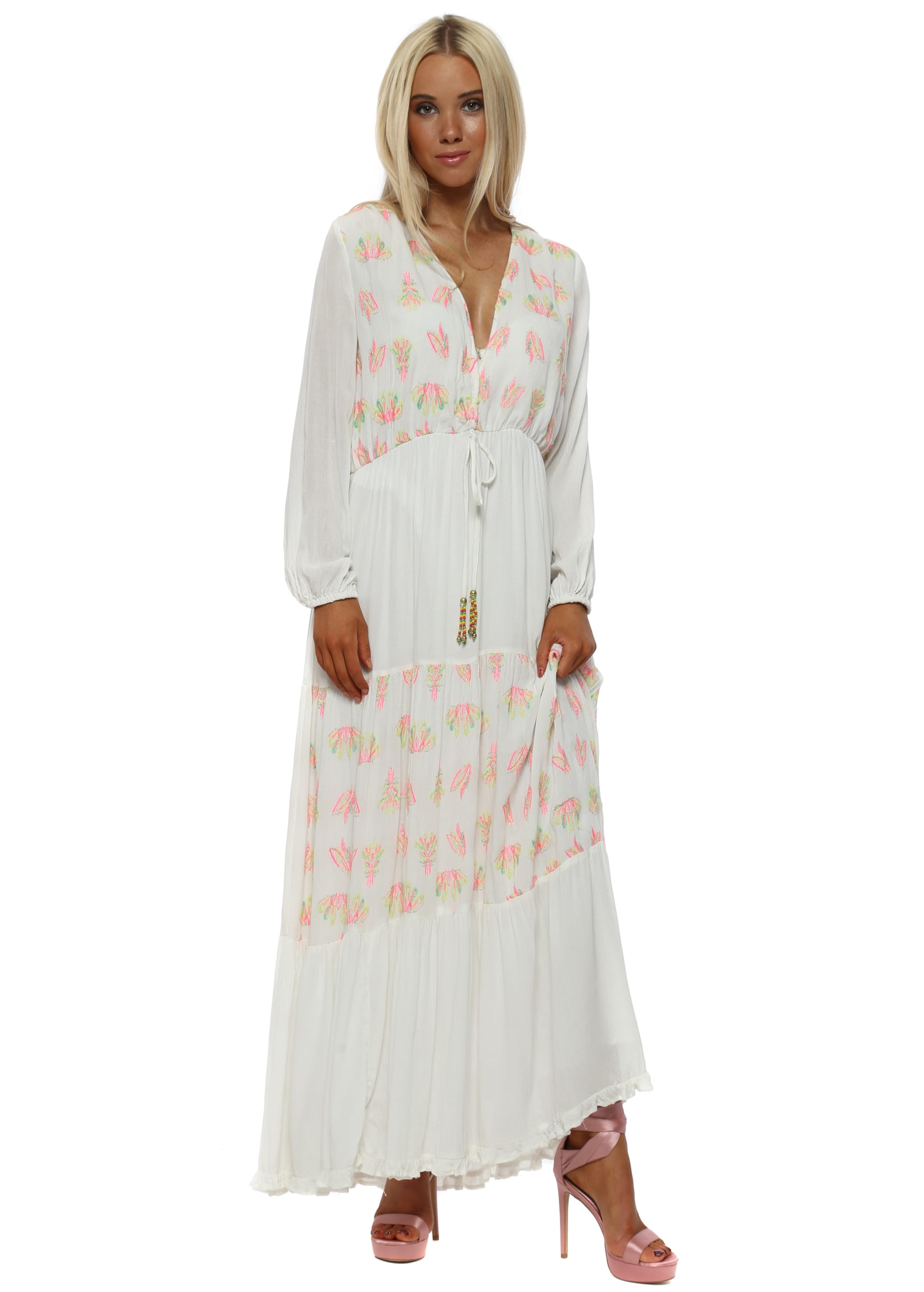 221d1423aeb Ronaly Off White Neon Embroidered Tiered Maxi Dress