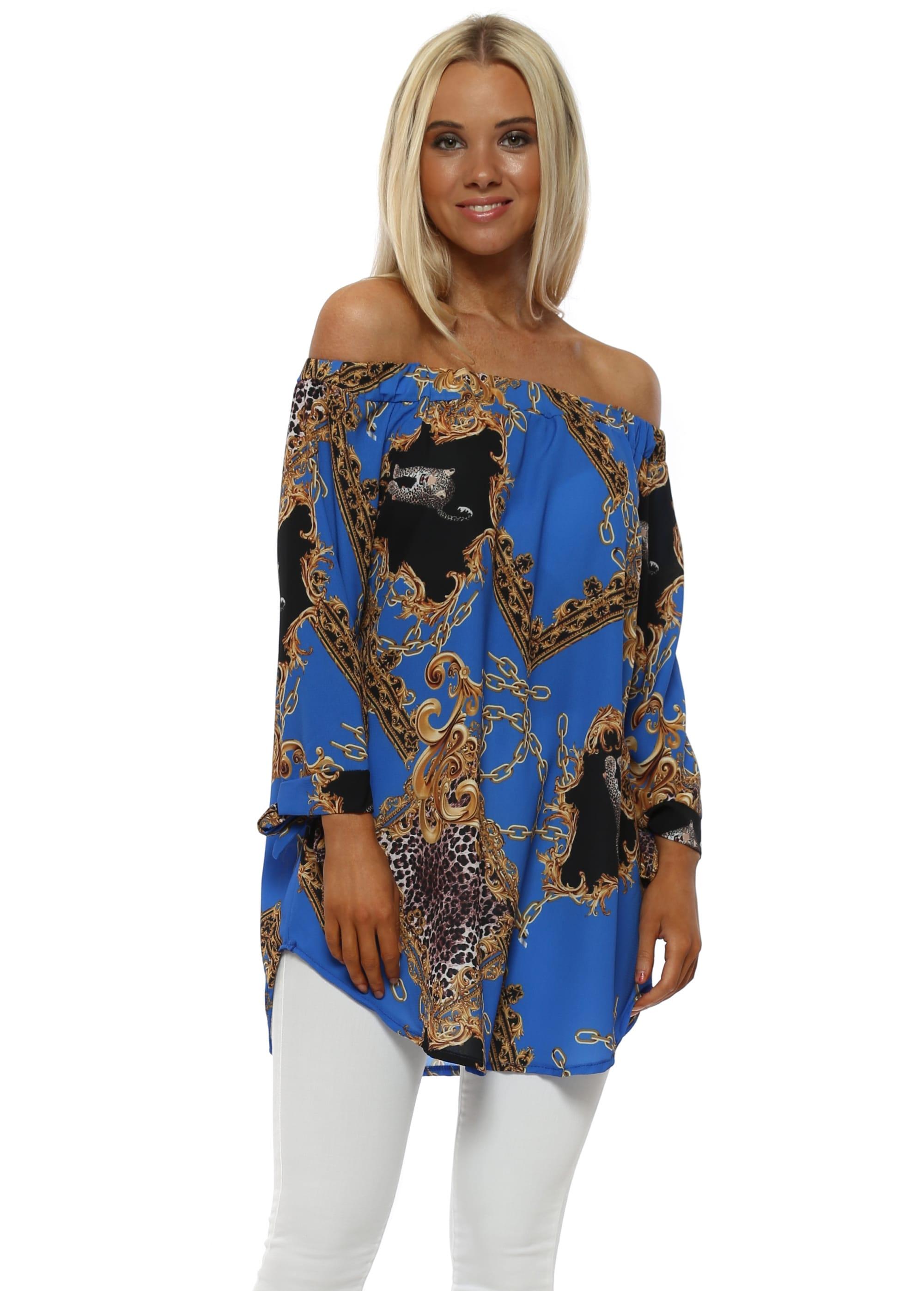 11d4fdb5bed Gold Chain & Leopard Print Cobalt Blue Bardot Top
