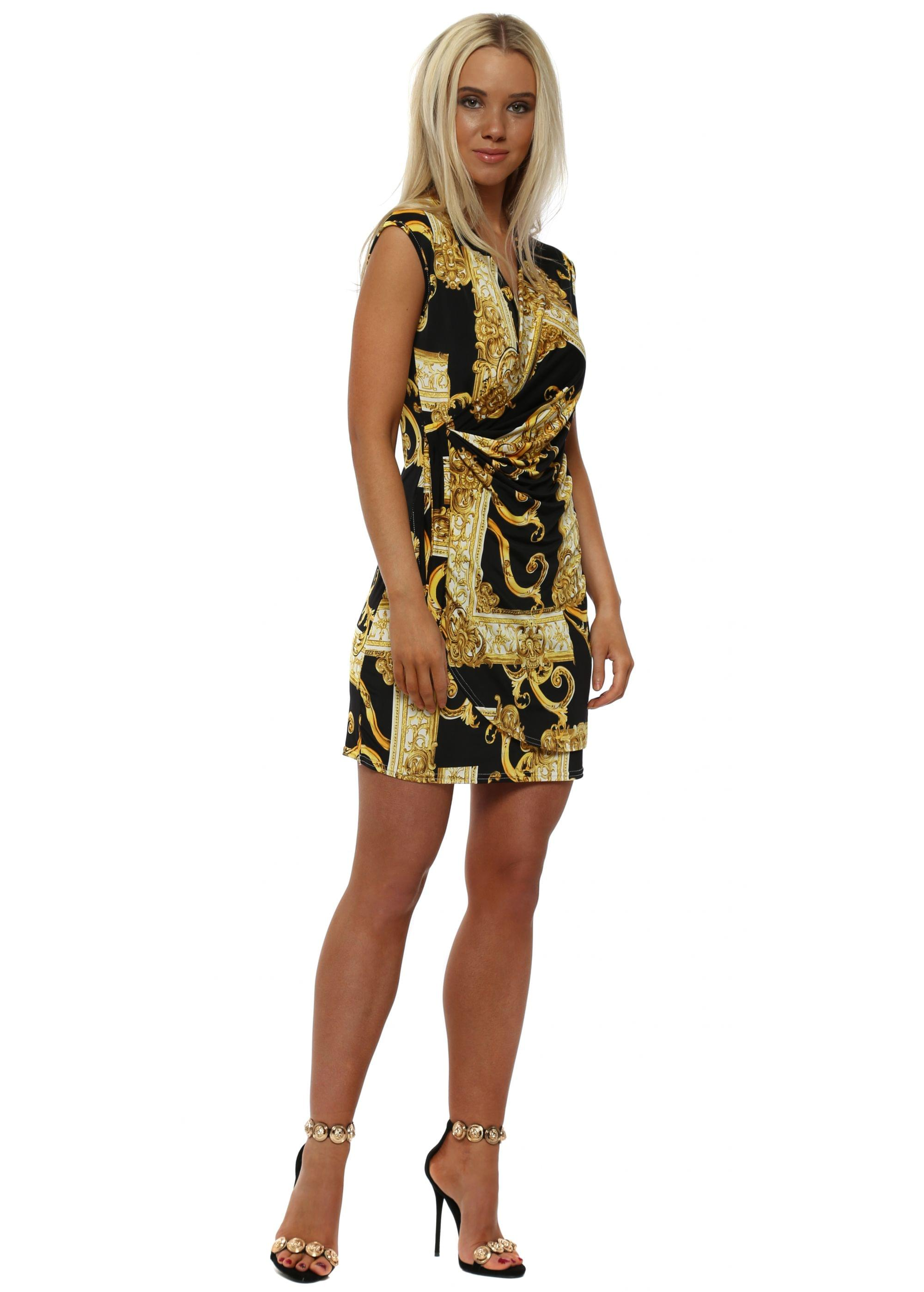 Black Amp Gold Chain Print Wrap Dress
