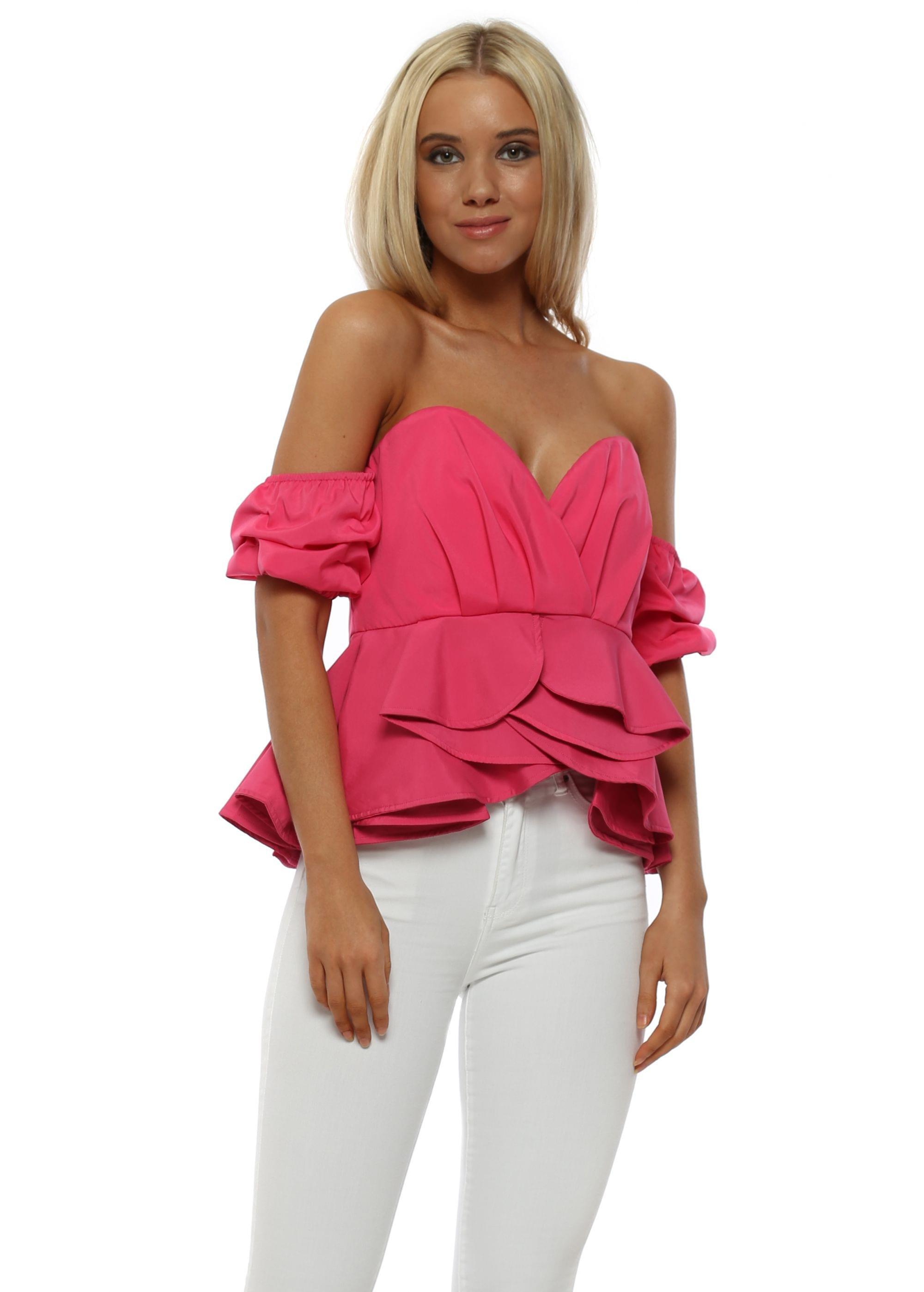 bac7452ebb435 Golden Days Hot Pink Bustier Off The Shoulder Top