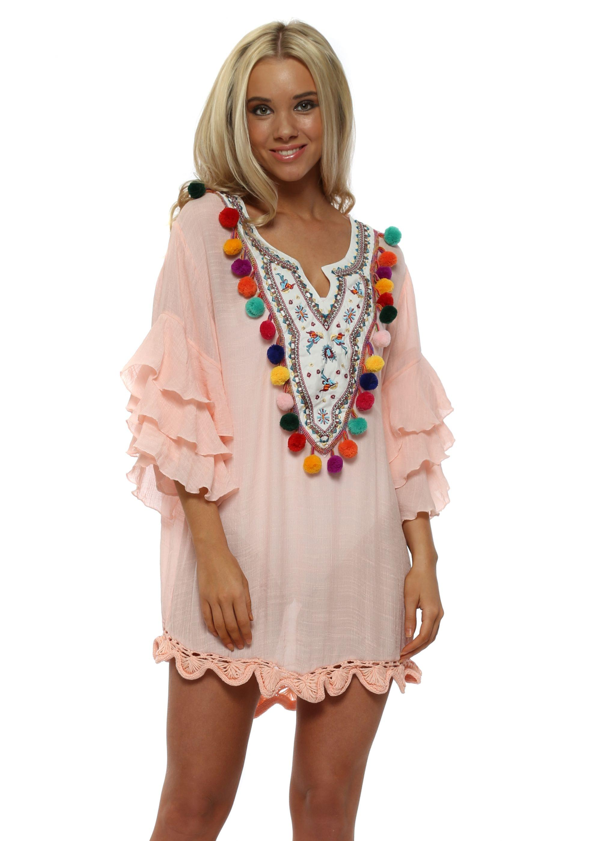 ad22736757 Baby Pink Multi Pom Pom Embroidered Kaftan Top