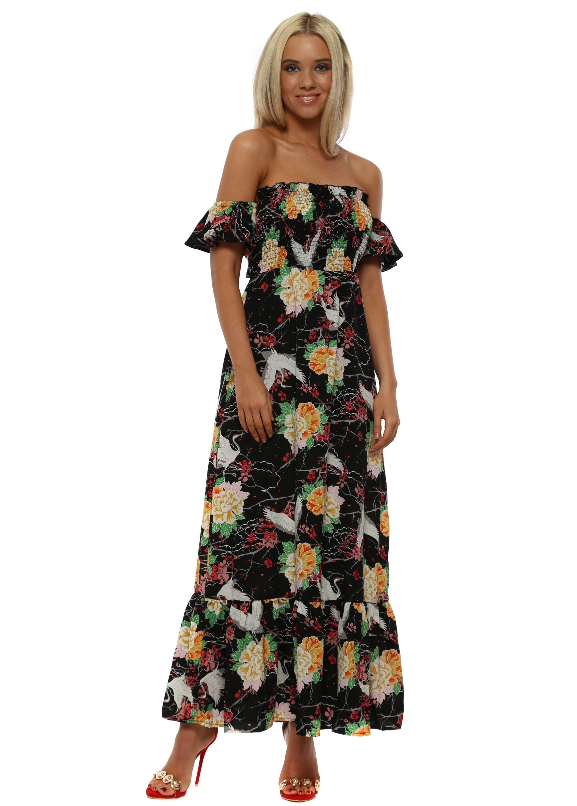 174d856e474e Black Oriental Print Tie Back Maxi Dress - May By Shining Star