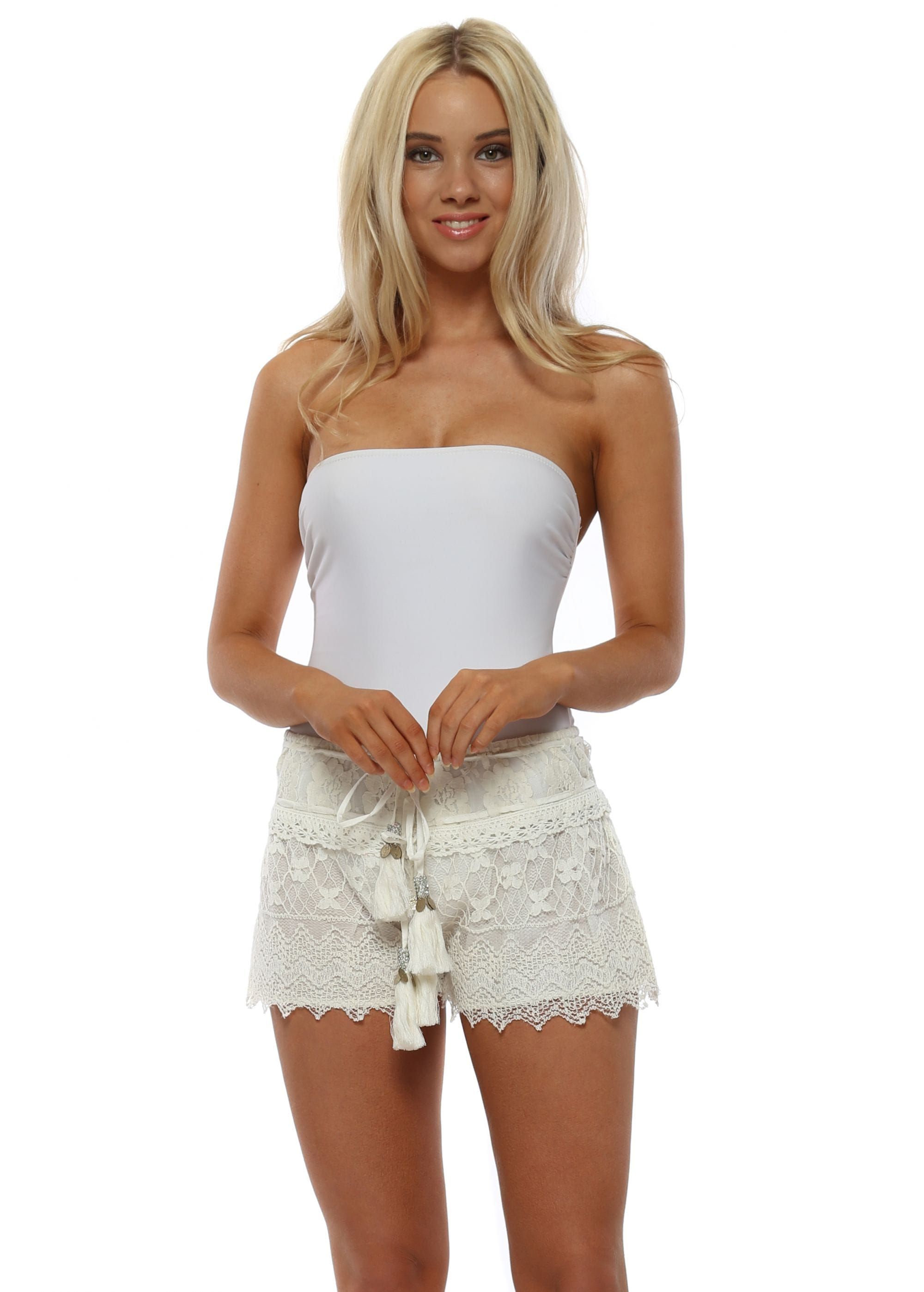Laurie Joe White Lace Shorts