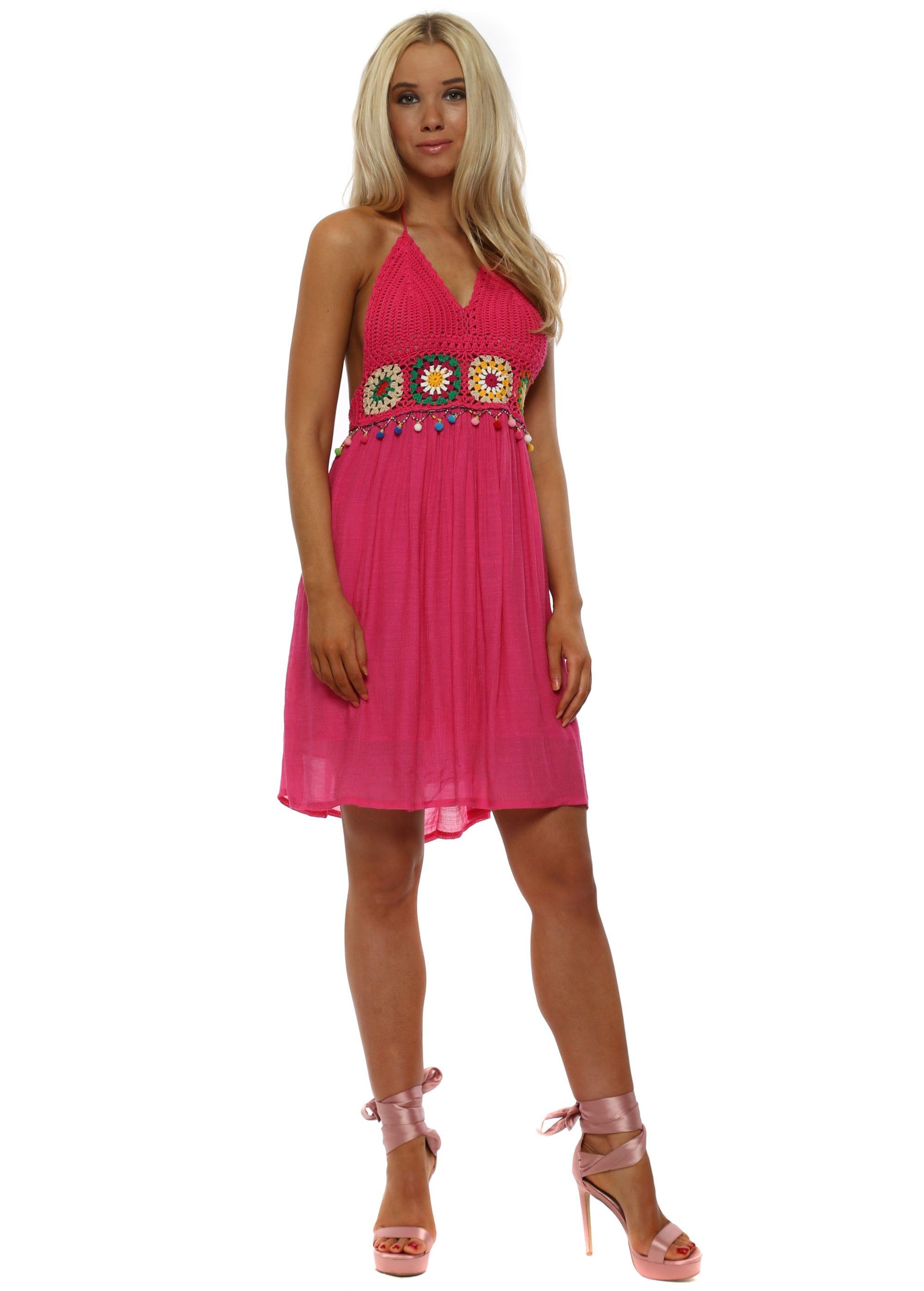 8f390c91b3e8d Hot Pink Crochet Bust Halterneck Beach Dress