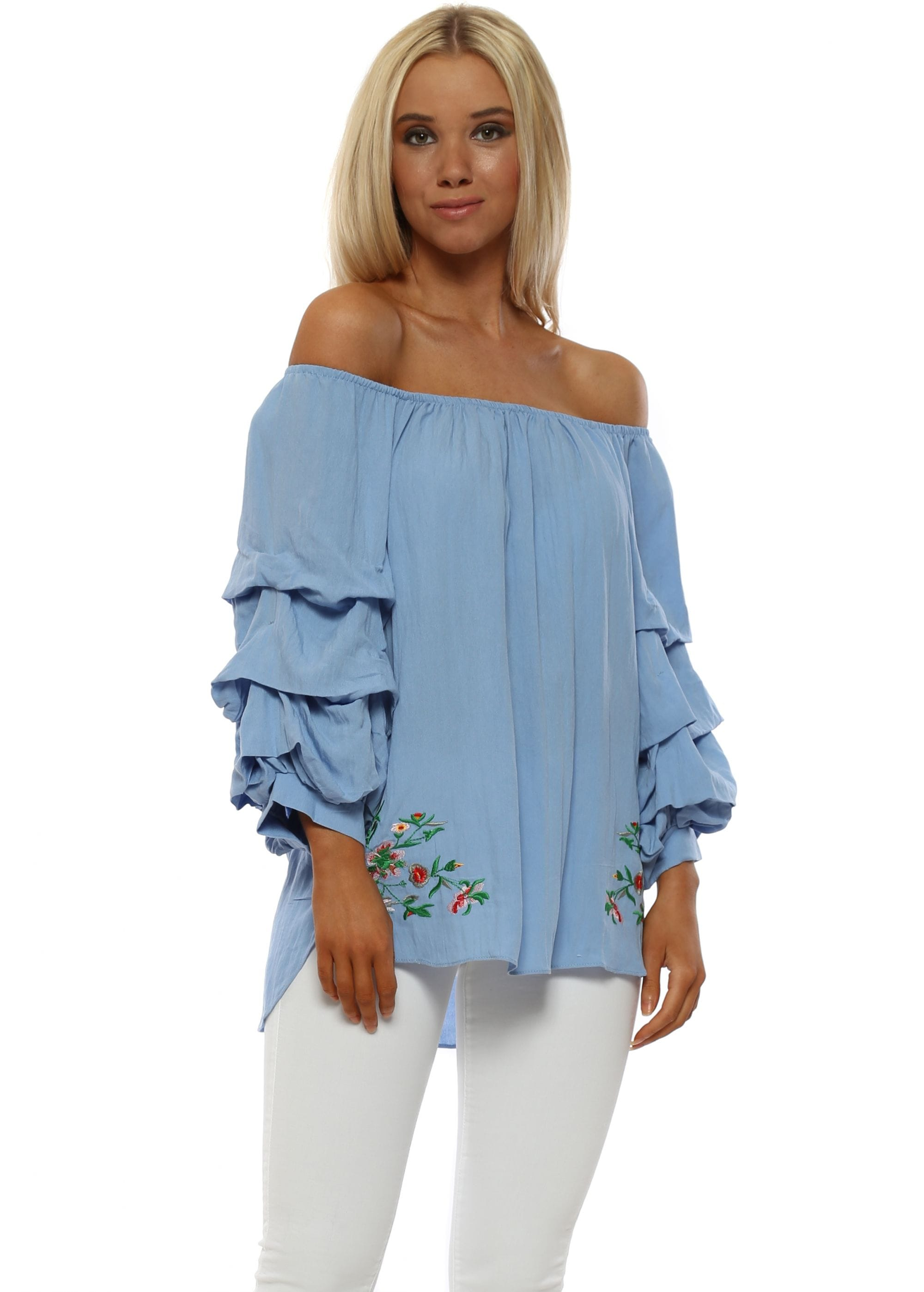 bfa0b7a3bba43 Denim Blue Ruched Sleeve Bardot Top