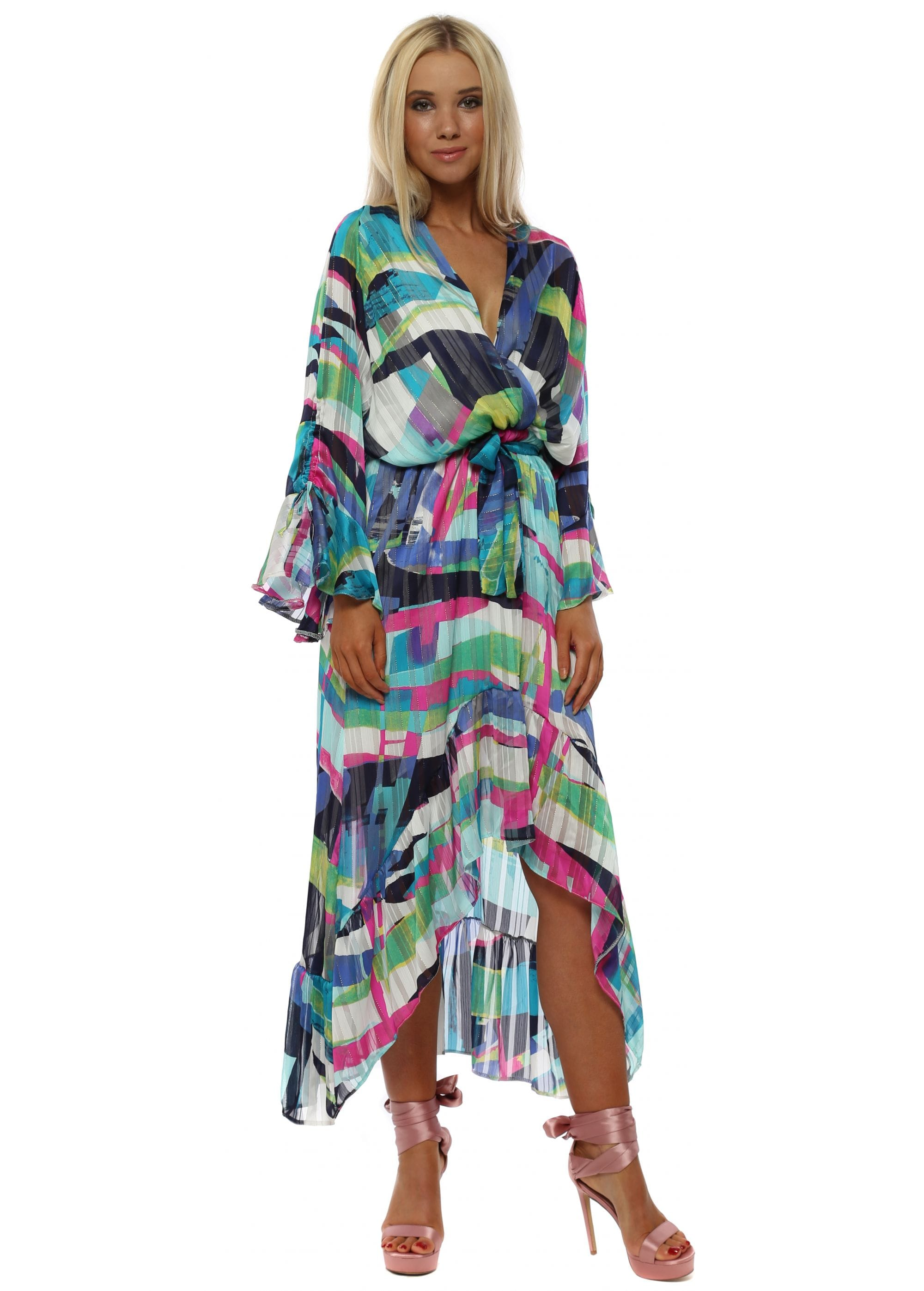 3a12ec51936a0 Pink & Blue Abstract Stripe Wrap Front Frill Maxi Dress