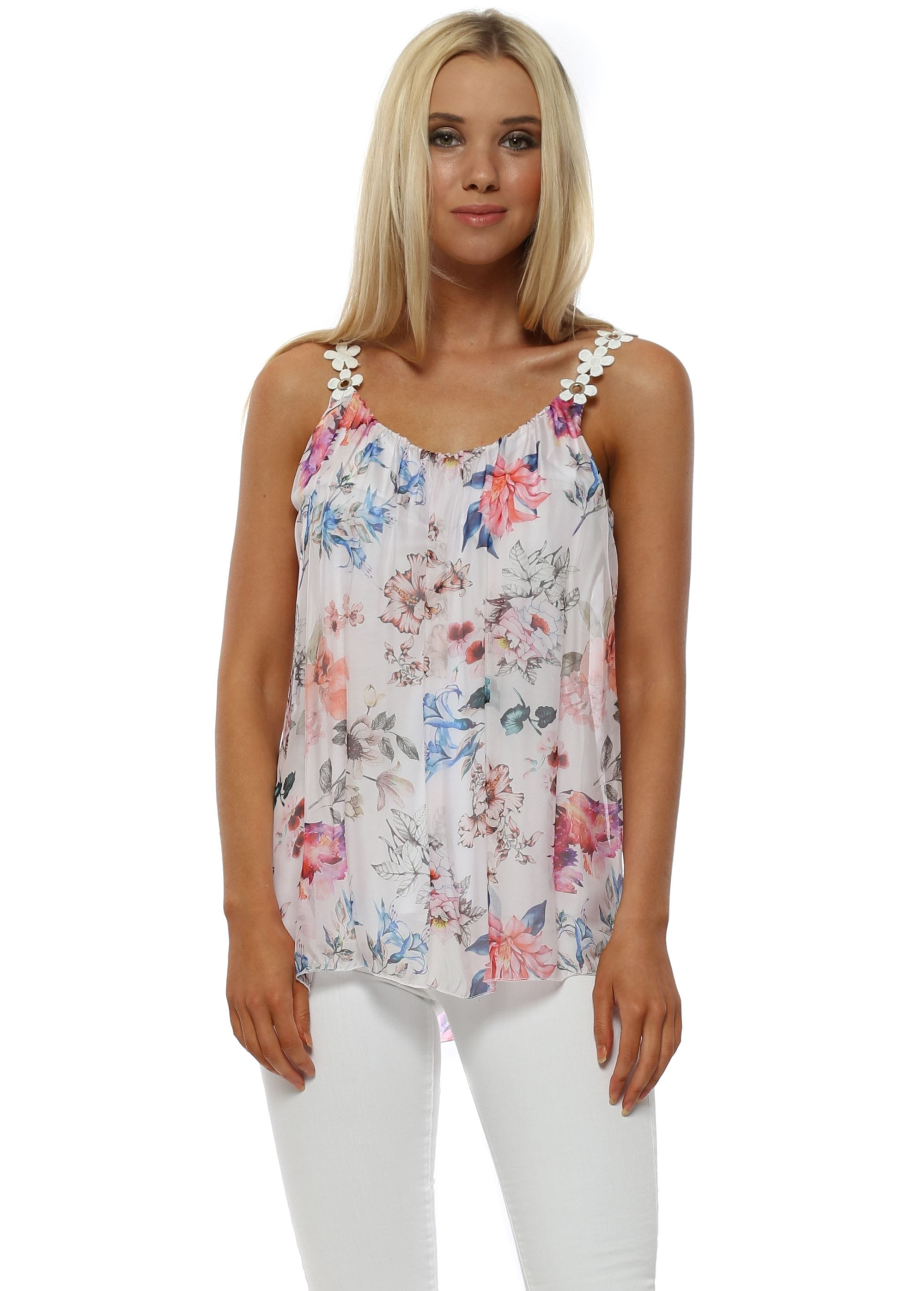 7de60bd3b4291 Made In Italy White Silk Floral Cami Vest