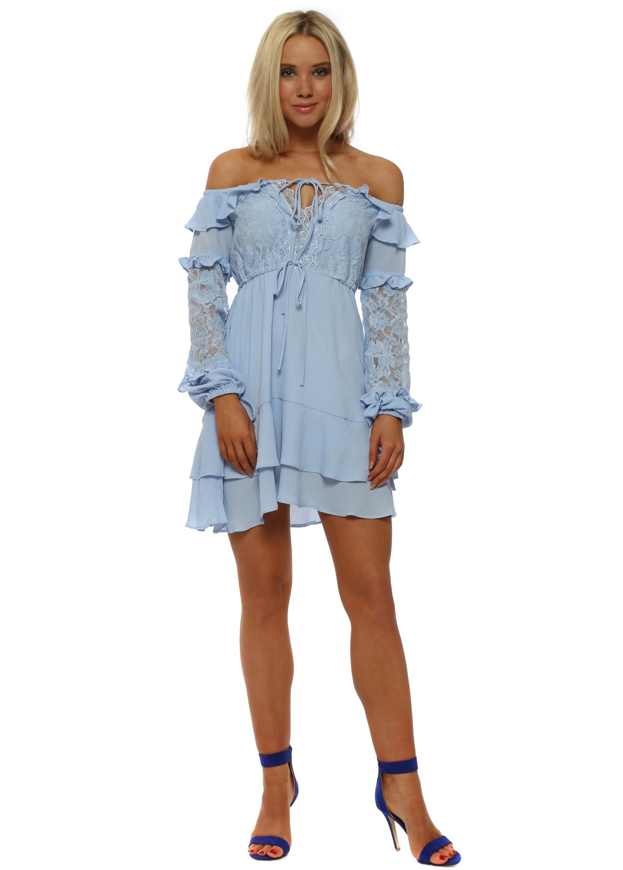 869a16f83 Baby Blue Bardot Lace Ruffle Mini Dress