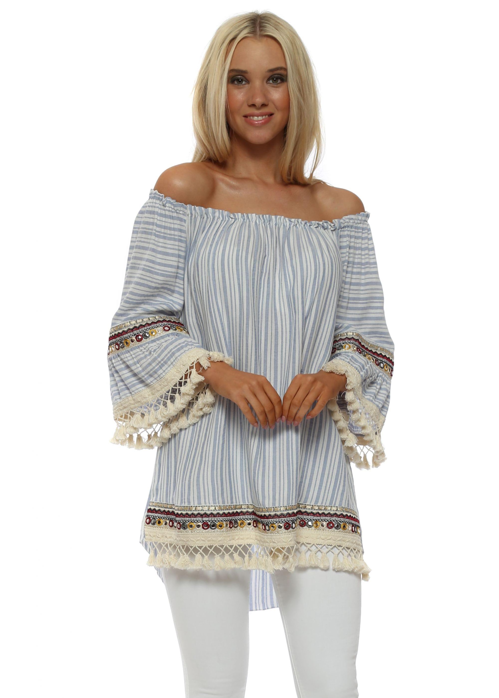 75fa971fb5949d Blue Stripe Cotton Bardot Top by Pinka
