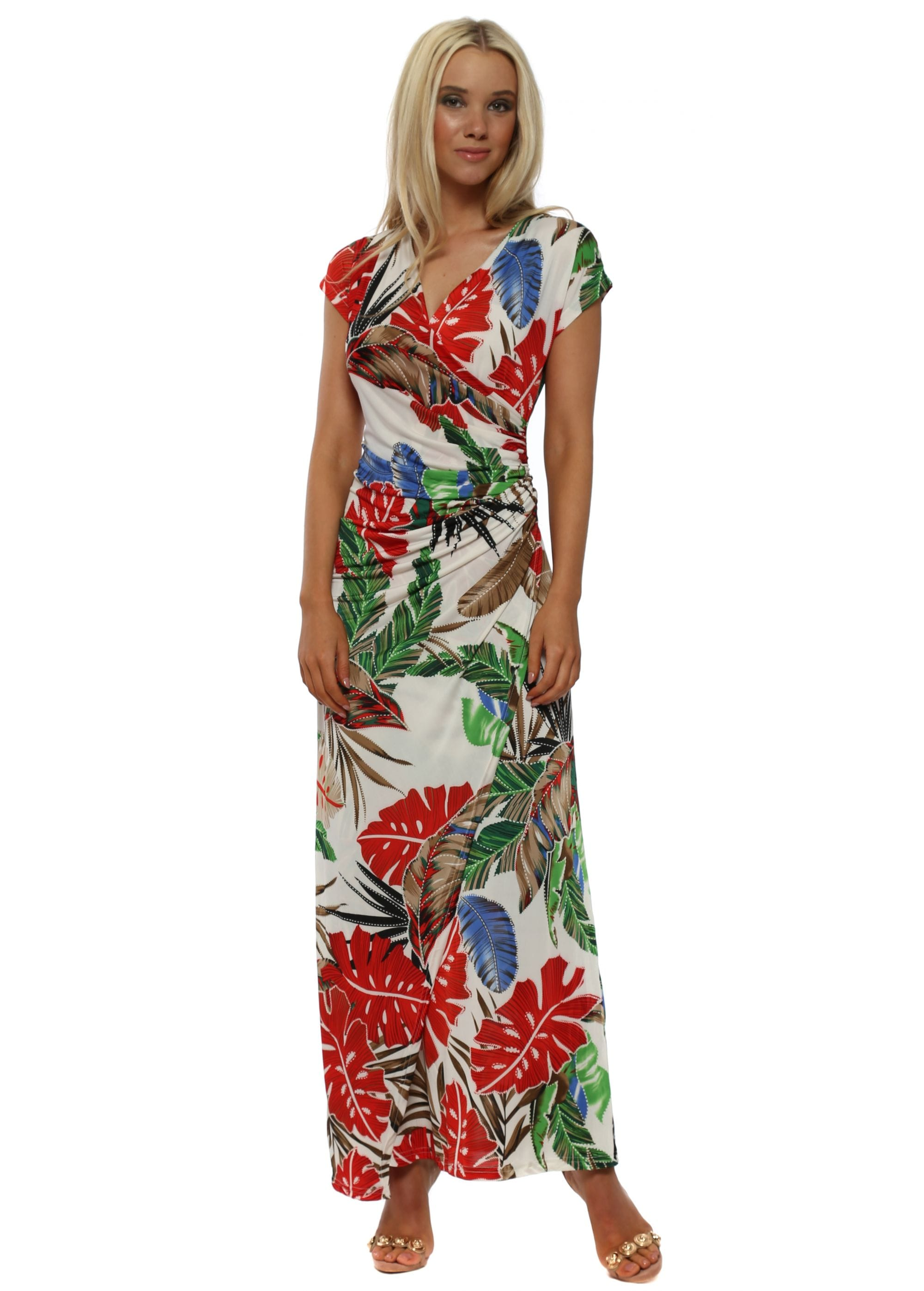 45374559617 White Tropical Floral Print Wrap Maxi Dress
