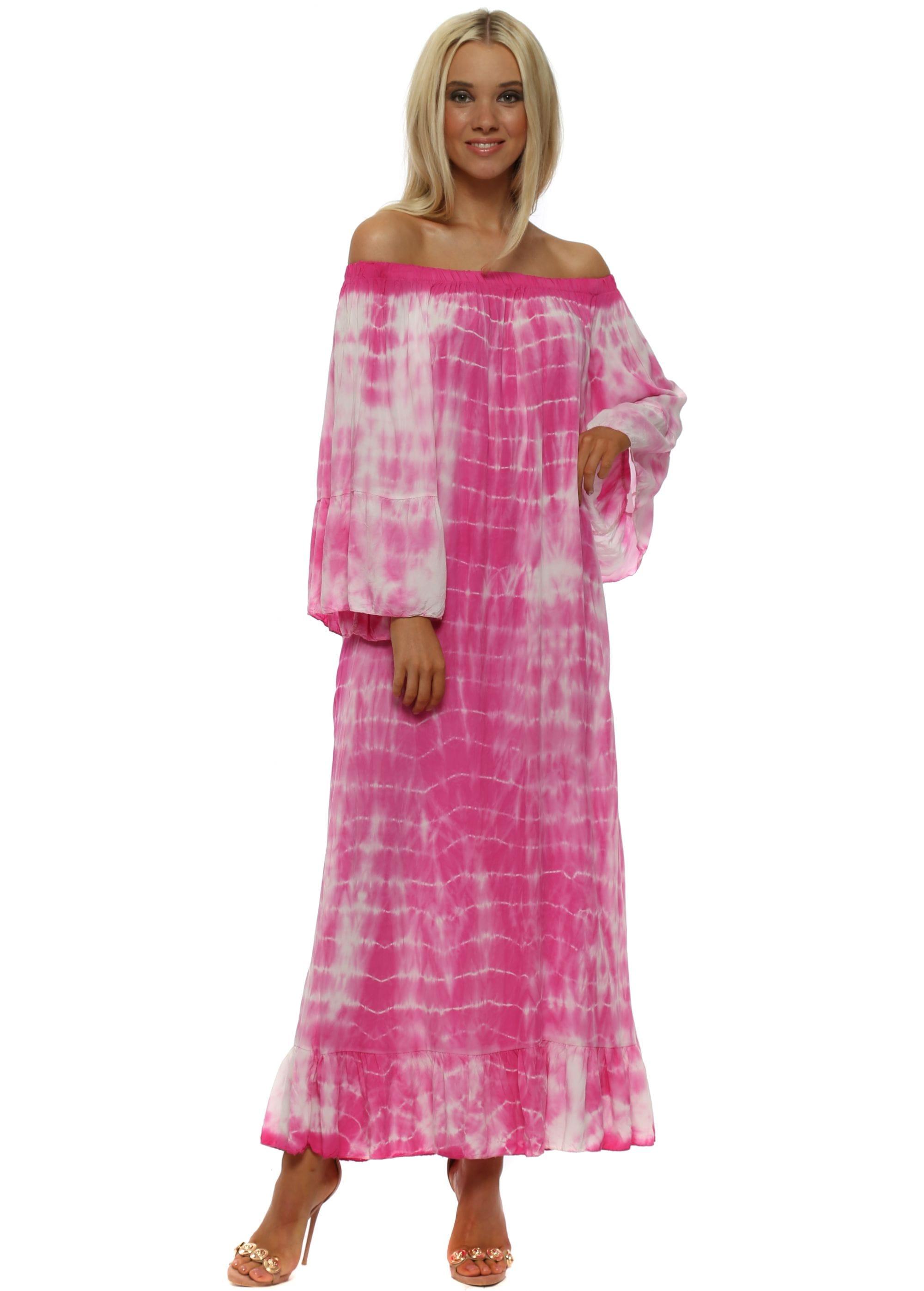 1cf38ea8b01f Fuchsia Off The Shoulder Tie Dye Maxi Dress