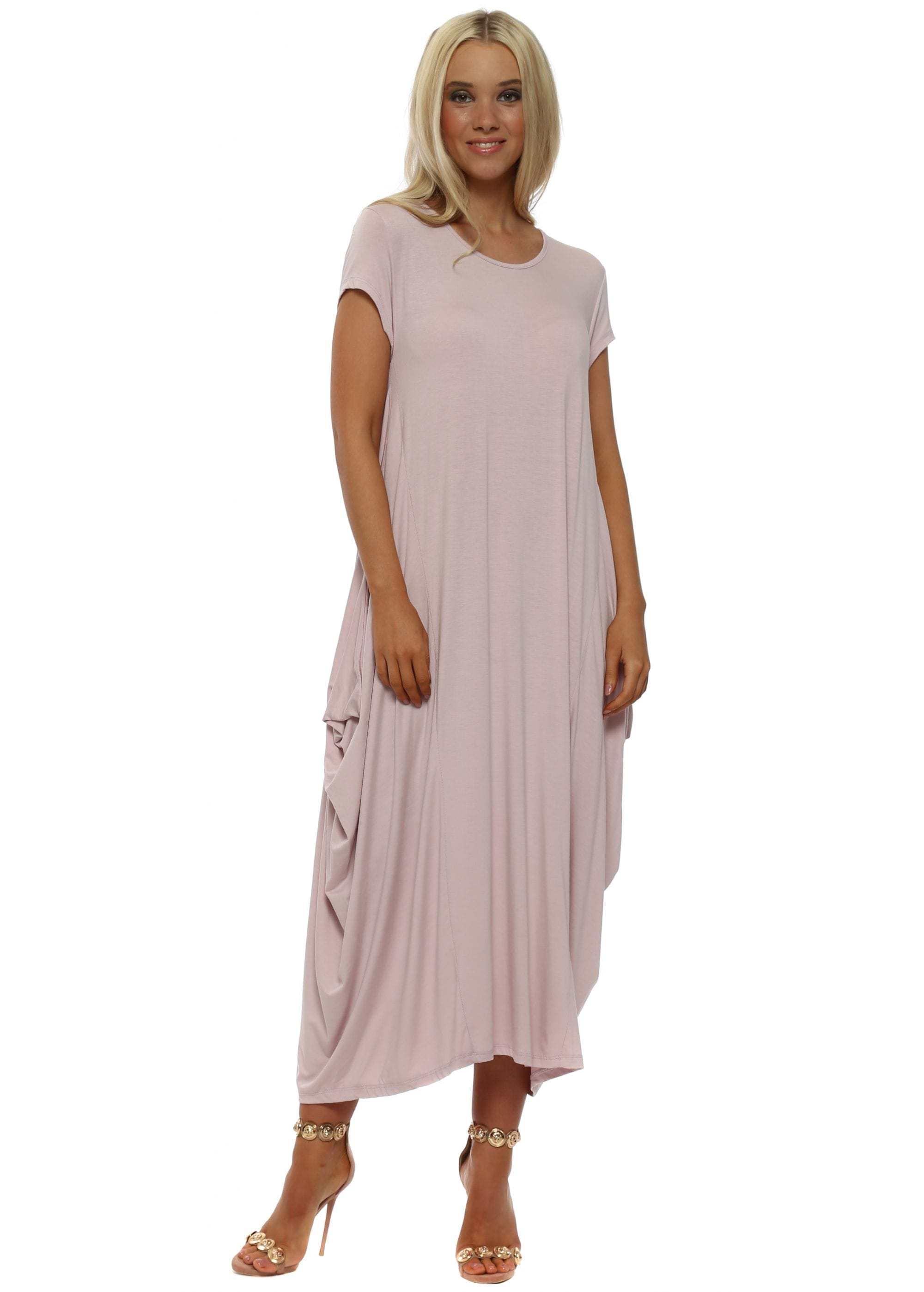 1009170abd Pink Oversized Parachute Dress