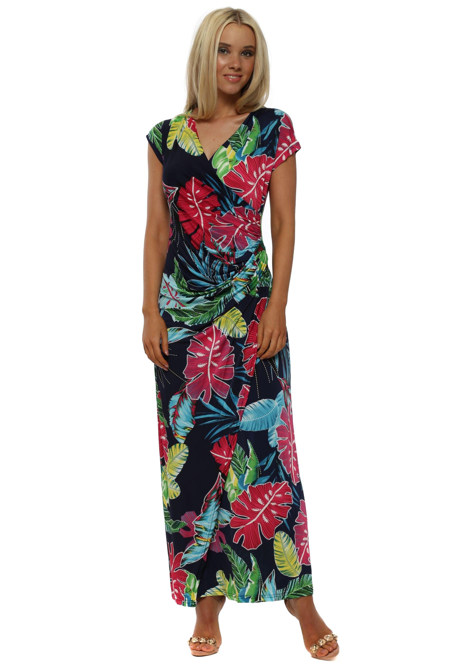 4081380679a Elissa Navy Blue Floral Print Wrap Maxi Dress