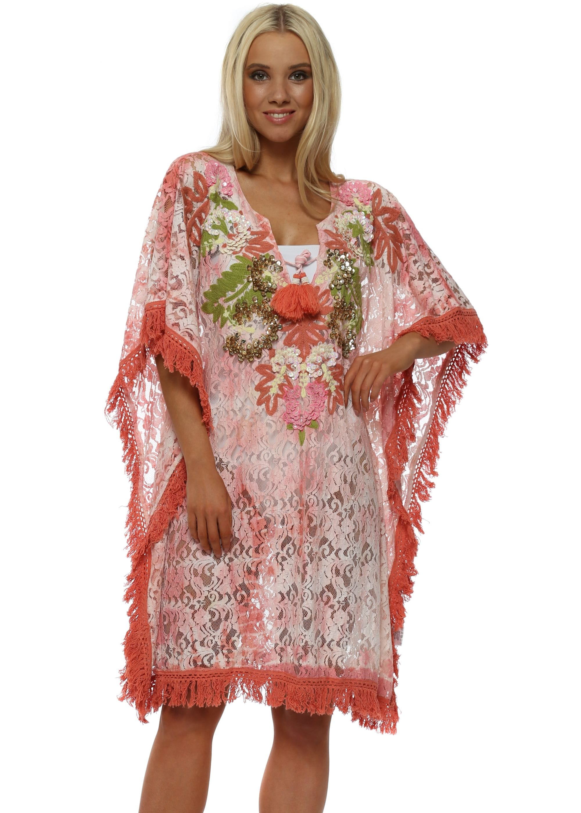 9f18be069c Pink Lace Sequin Kaftan by NJ Couture