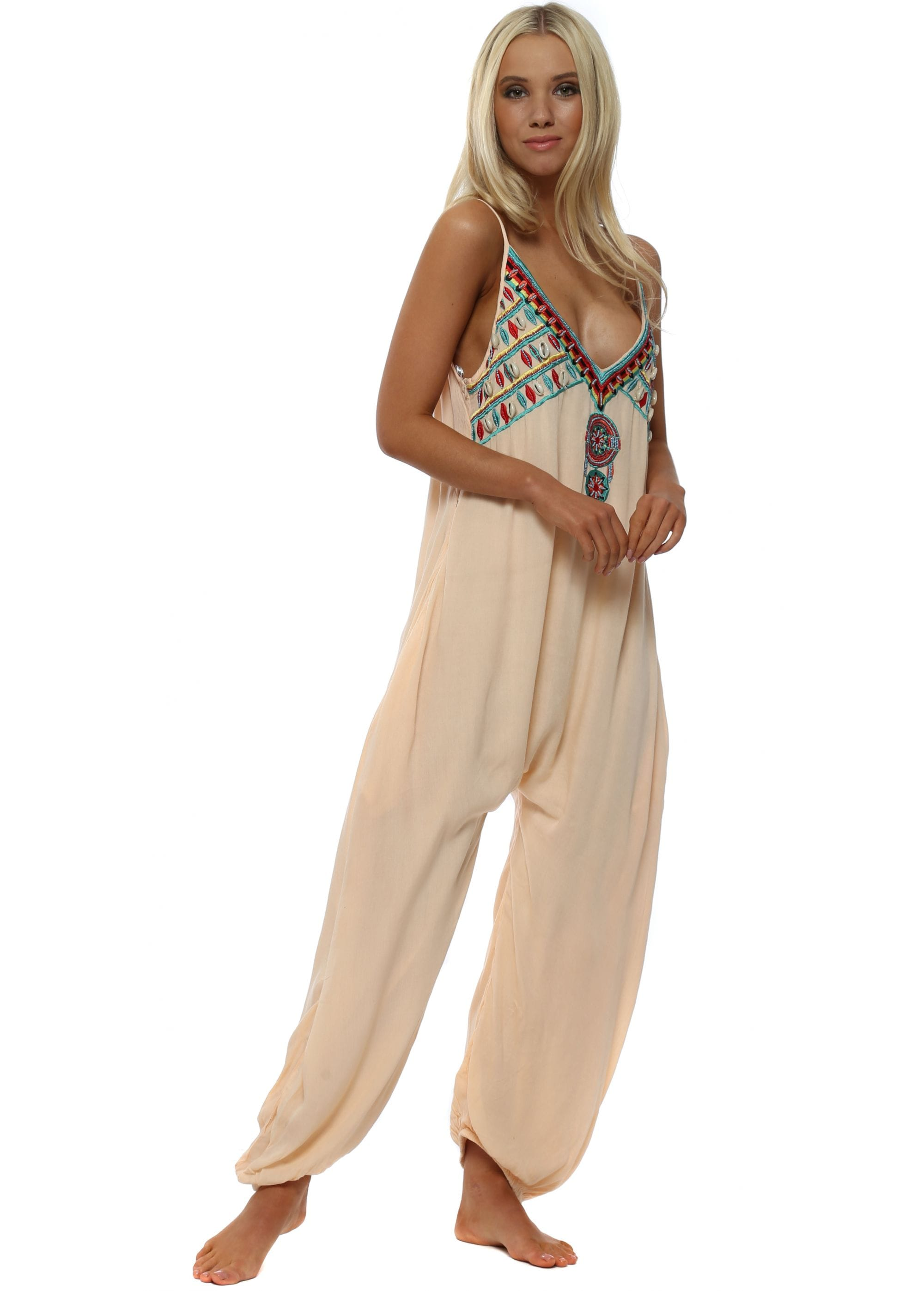 eb05914584b Peach Shell Embellished Jumpsuit