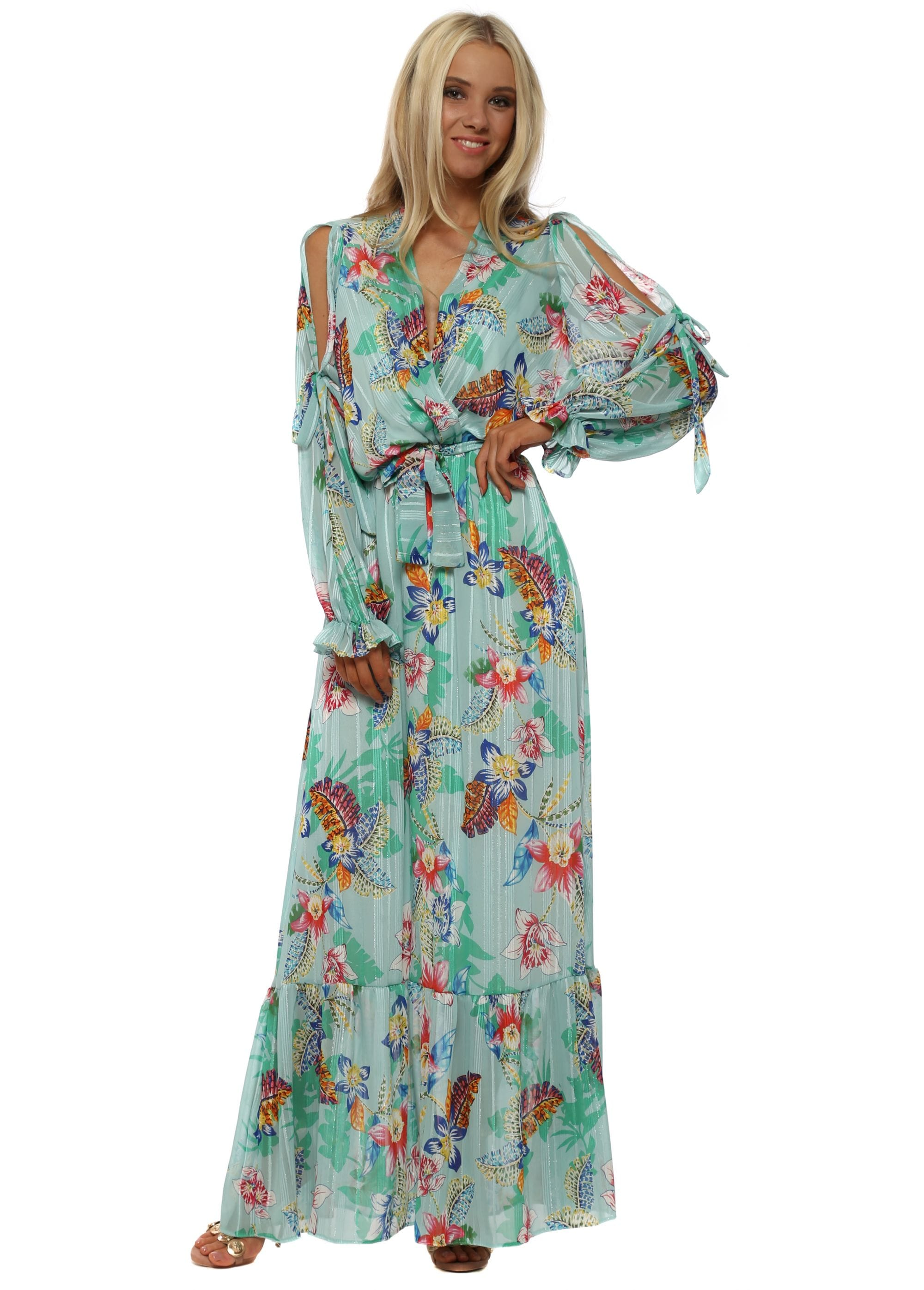 e6297e9deed Aqua Tropical Floral Print Cross Over Maxi Dress