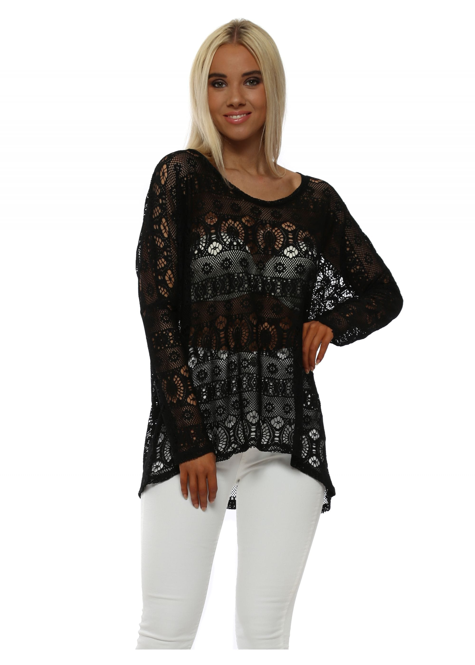 A Postcard From Brighton Cassie Black Crochet Lace Crush Long Sleeve