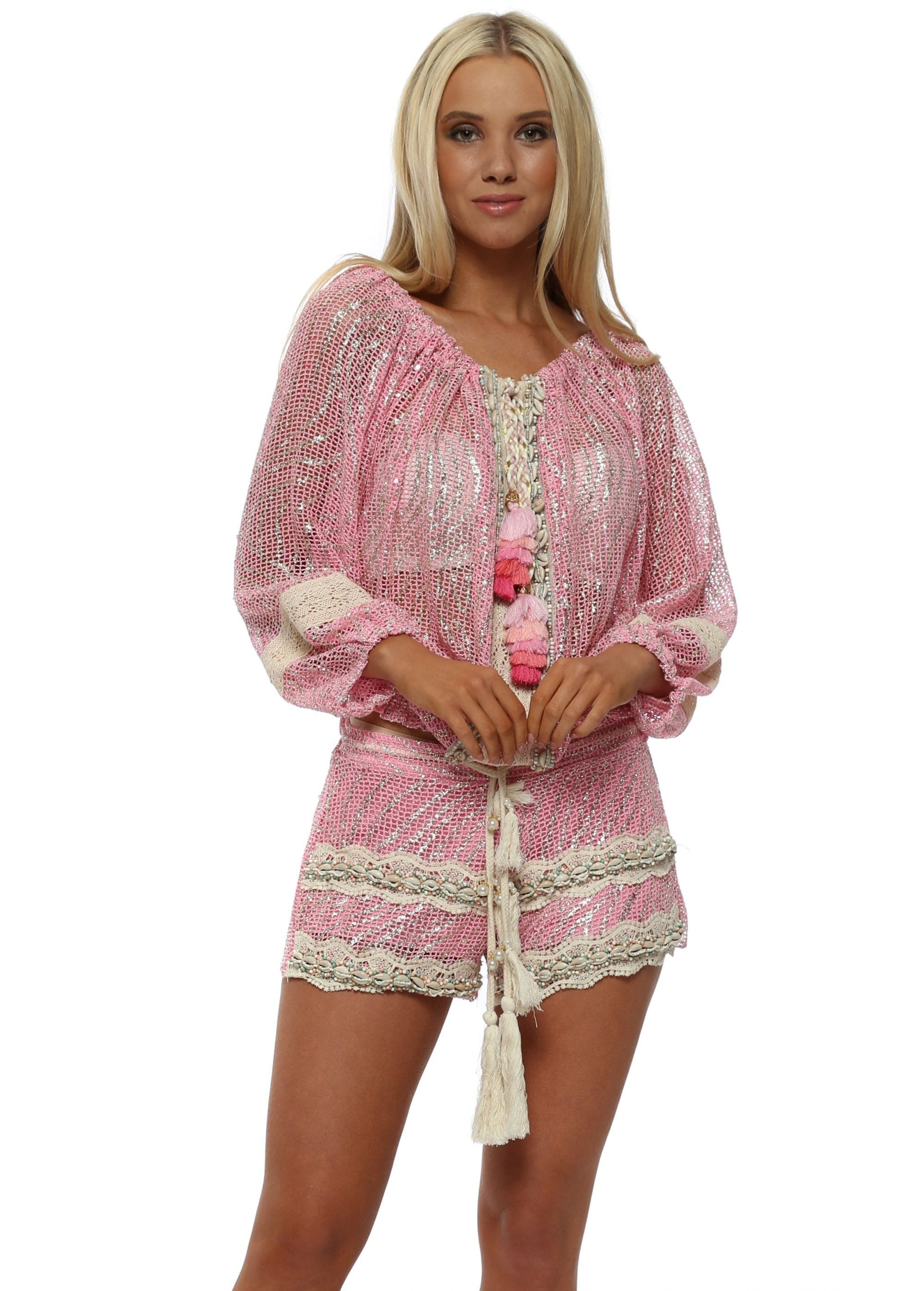 eaa21d6e6177 Pink Metallic Knit Tassel Shorts by Laurie   Joe
