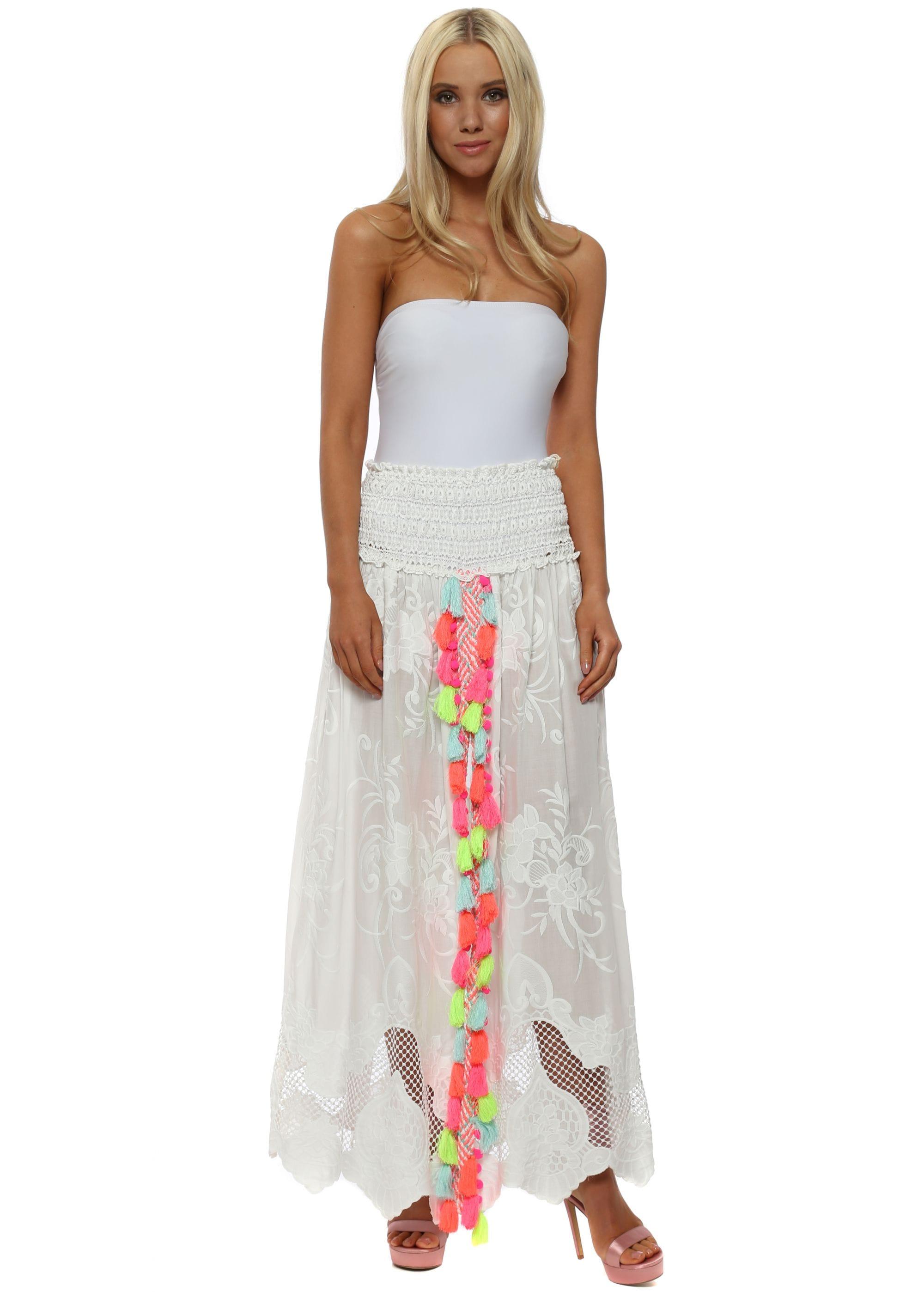 0fc3d8199c1c White Lace Neon Tassle Split Front Maxi Skirt