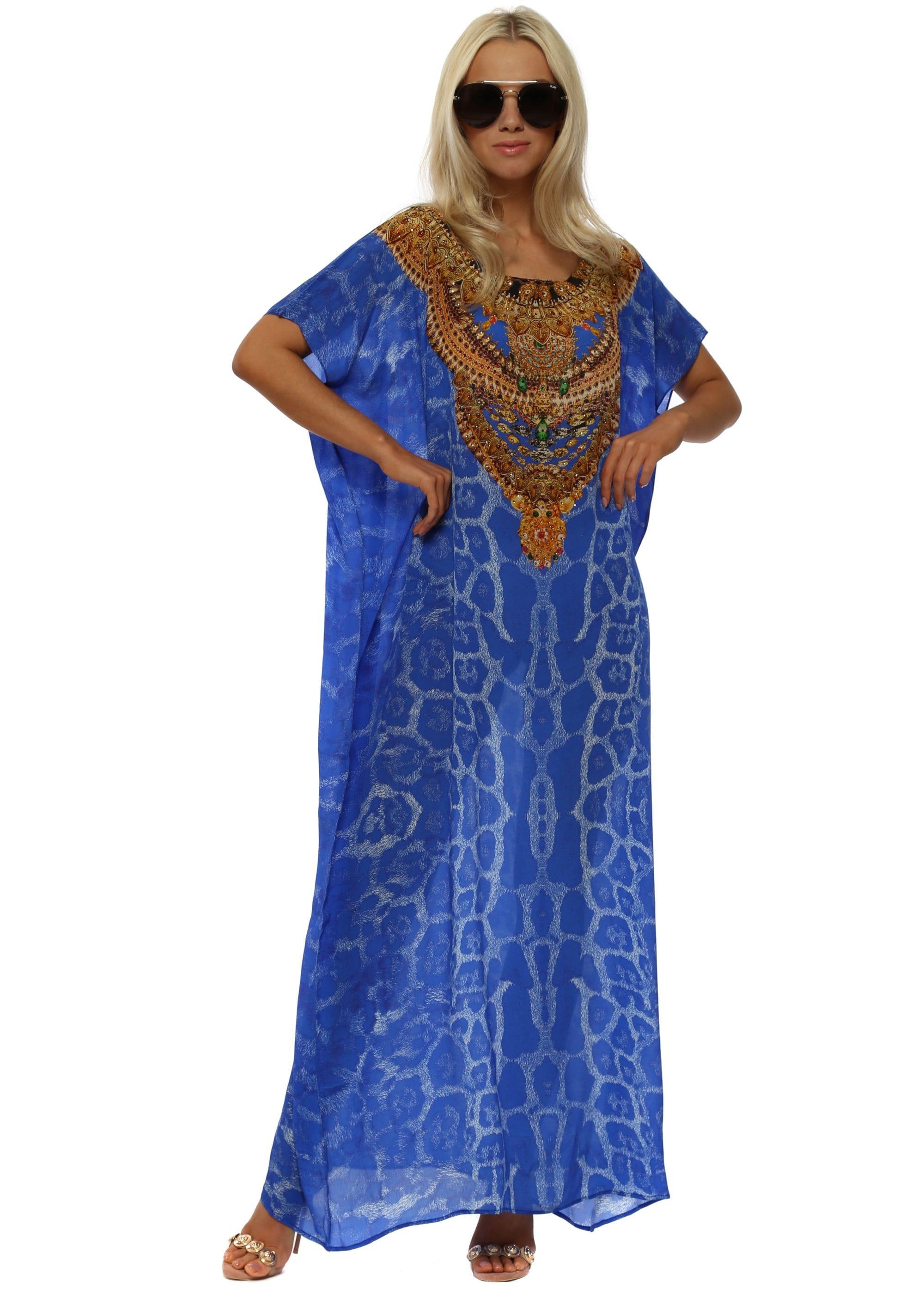 2cdbefdb0ac Woodford   Reay - Cobalt Blue Leopard Print Maxi Kaftan
