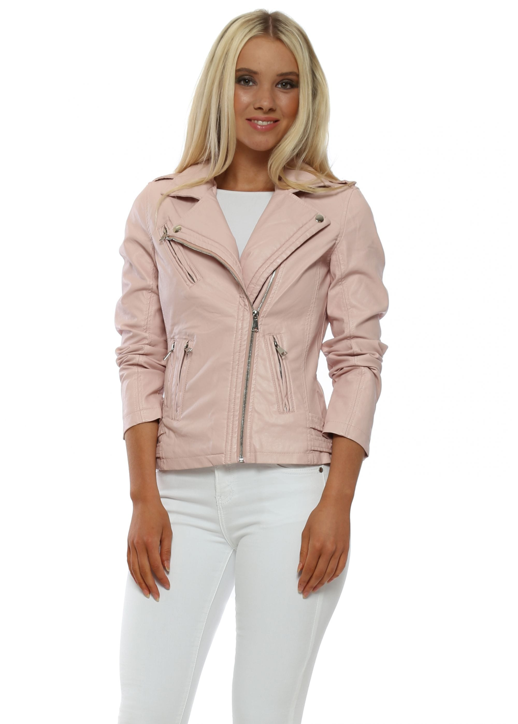 633a5b929fd6 Baby Pink Faux Leather Biker Jacket by Orice