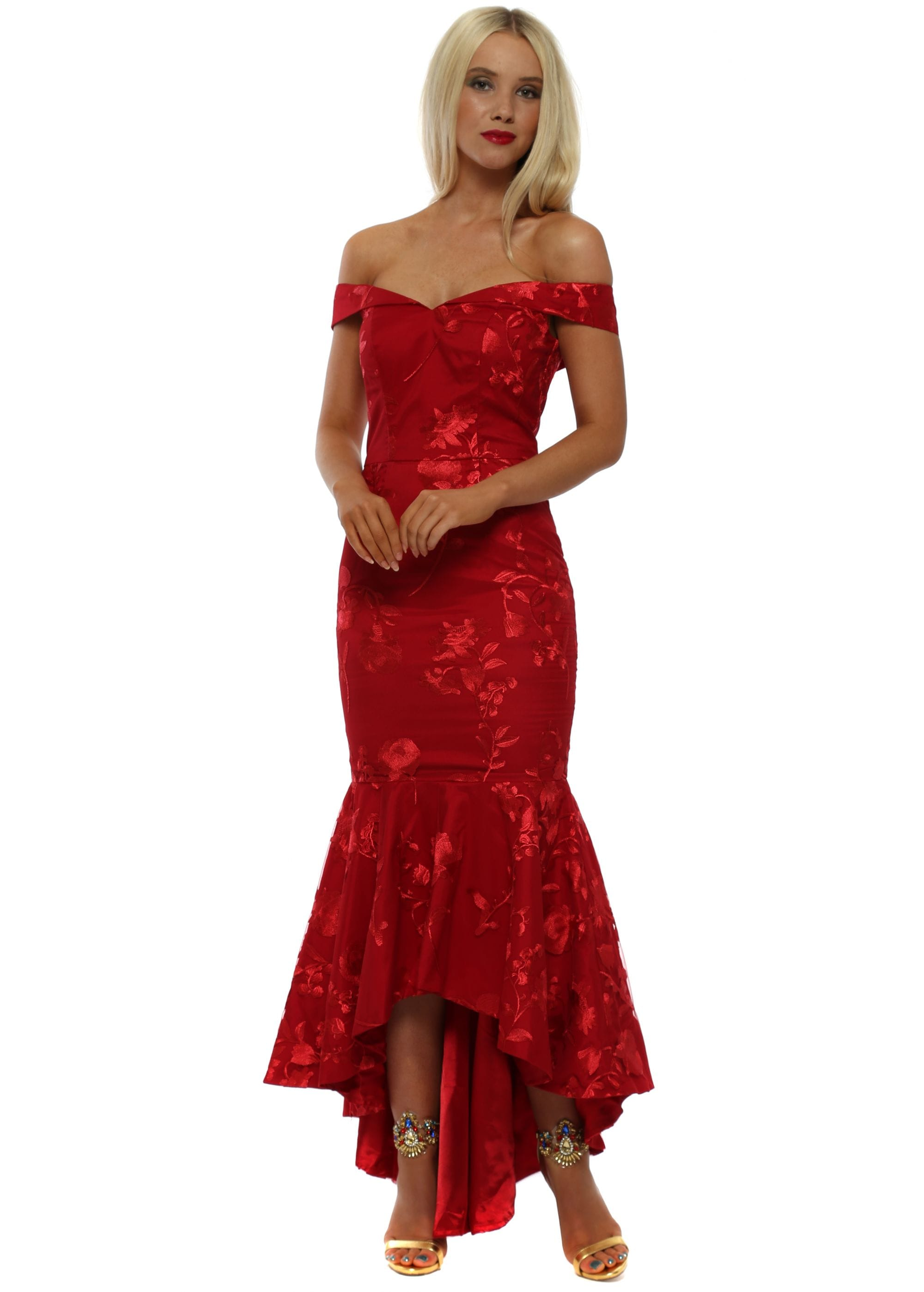 414869f6131f Chi Chi Red Lace Off The Shoulder Midi Dress