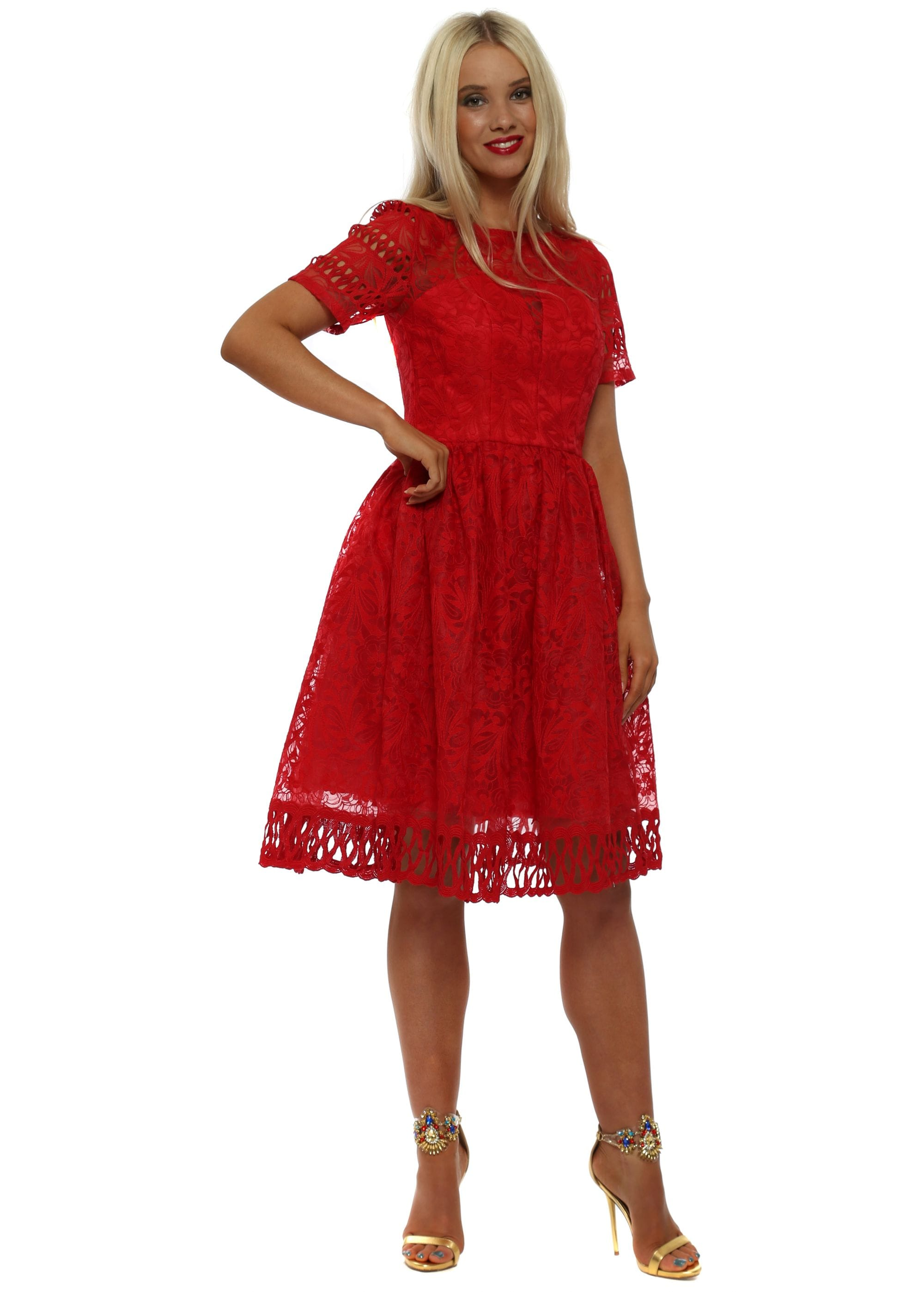f63918ccd3cc Chi Chi Red Crochet Lace Skater Dress