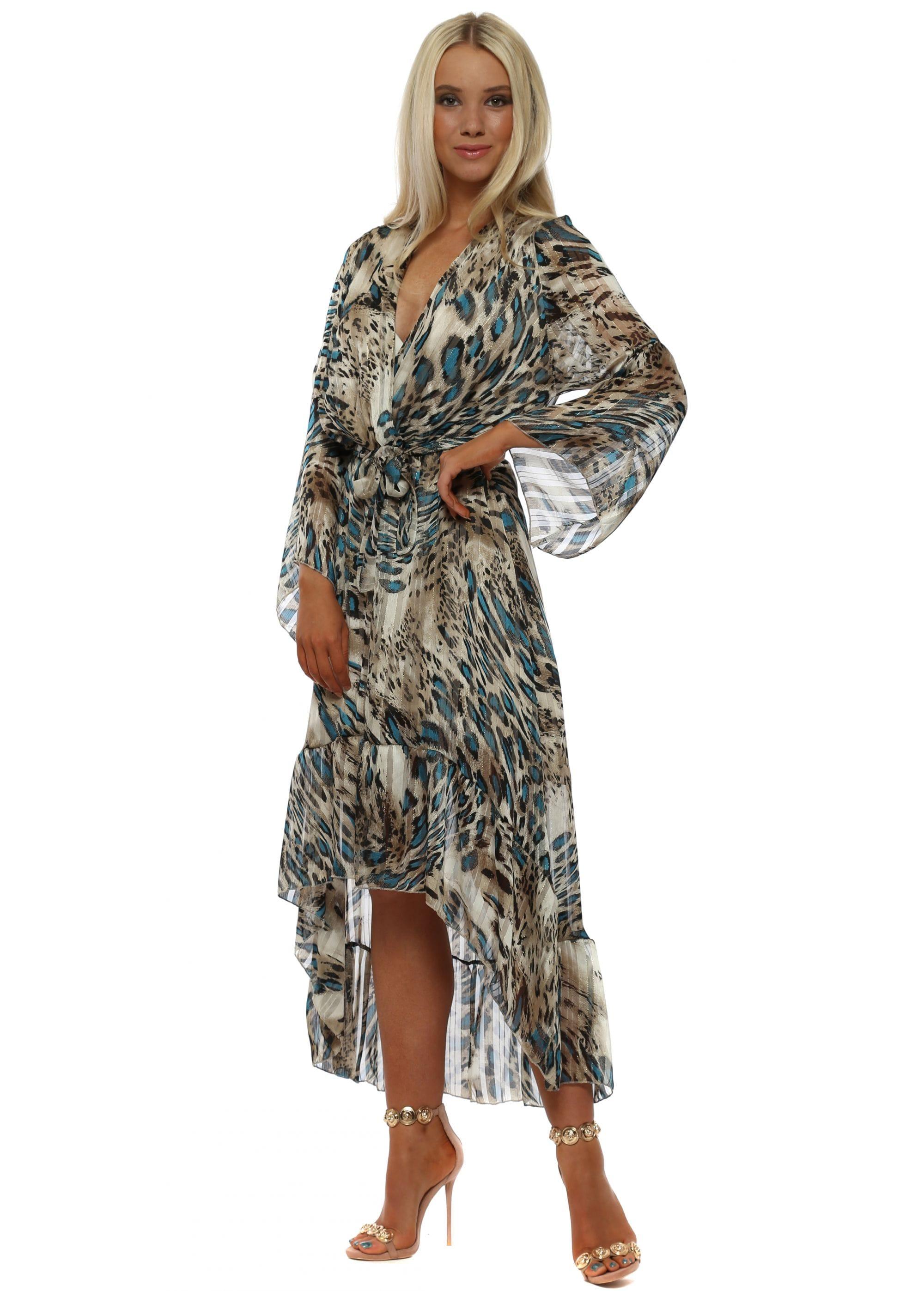 db77fc65ed4 Port Blue Leopard Print Wrap Front Frill Midi Dress